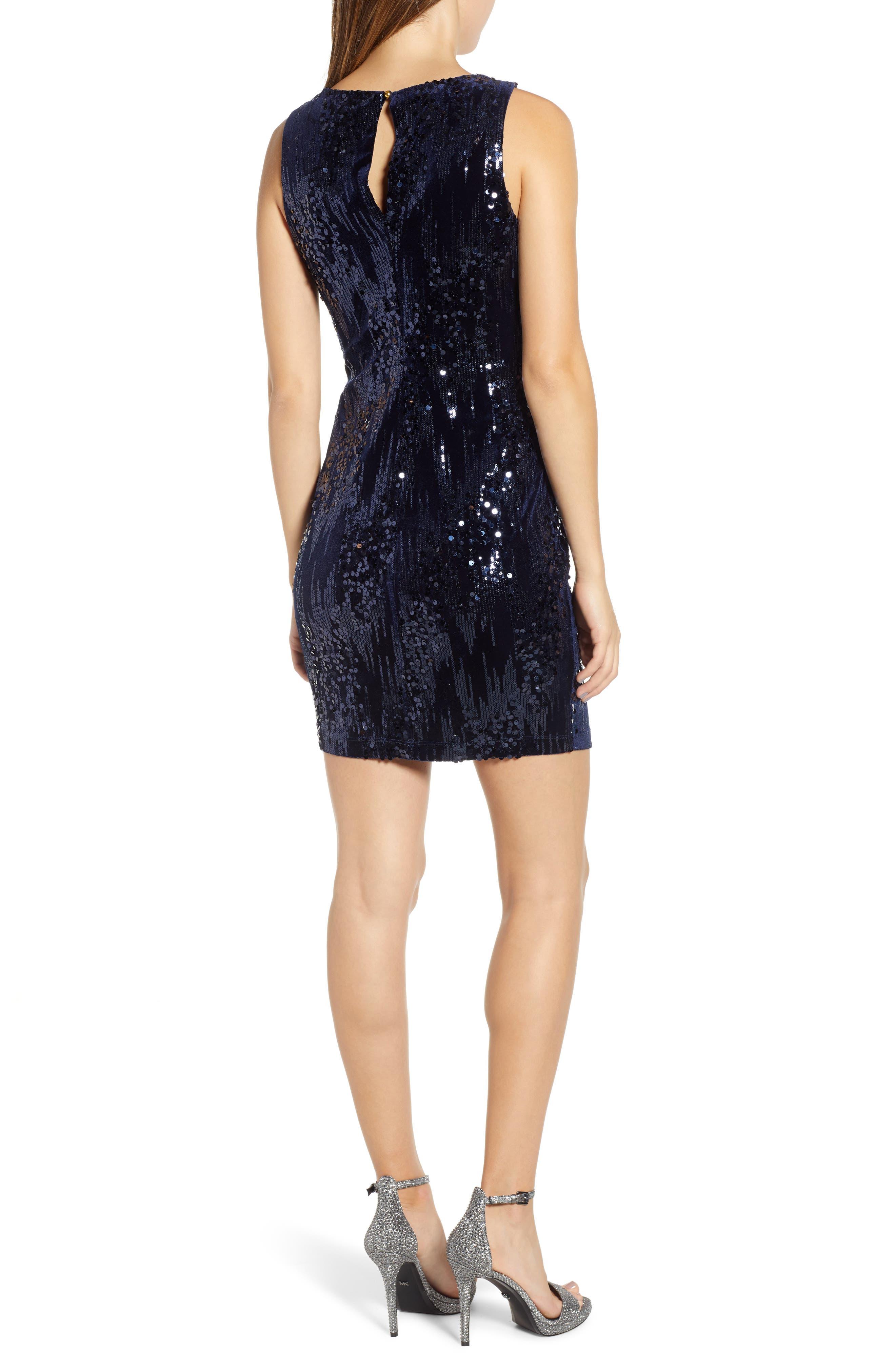 Sequin Velvet Sheath Dress,                             Alternate thumbnail 2, color,                             NAVY