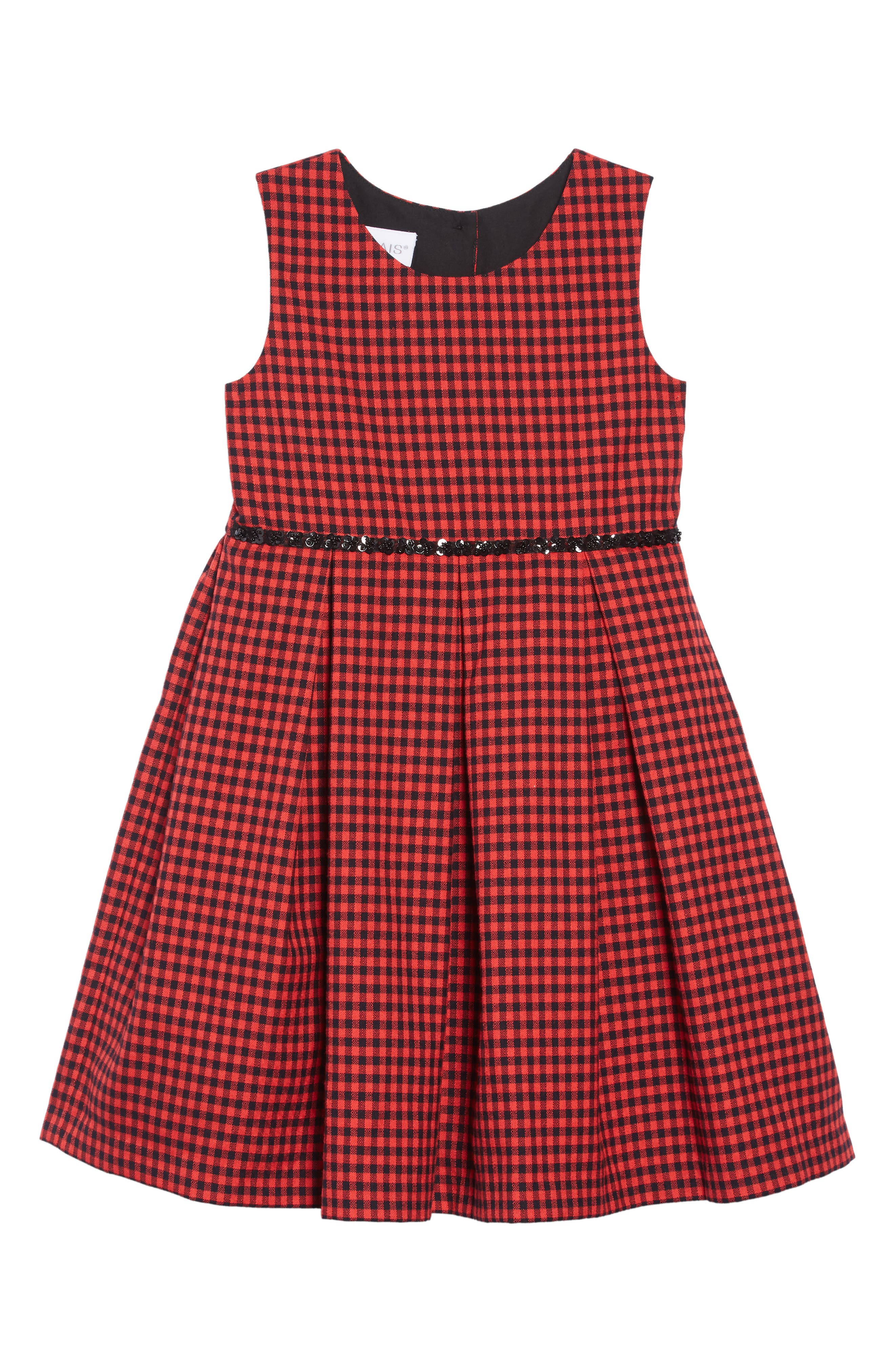 Gingham Pleated Dress,                             Main thumbnail 1, color,                             RED
