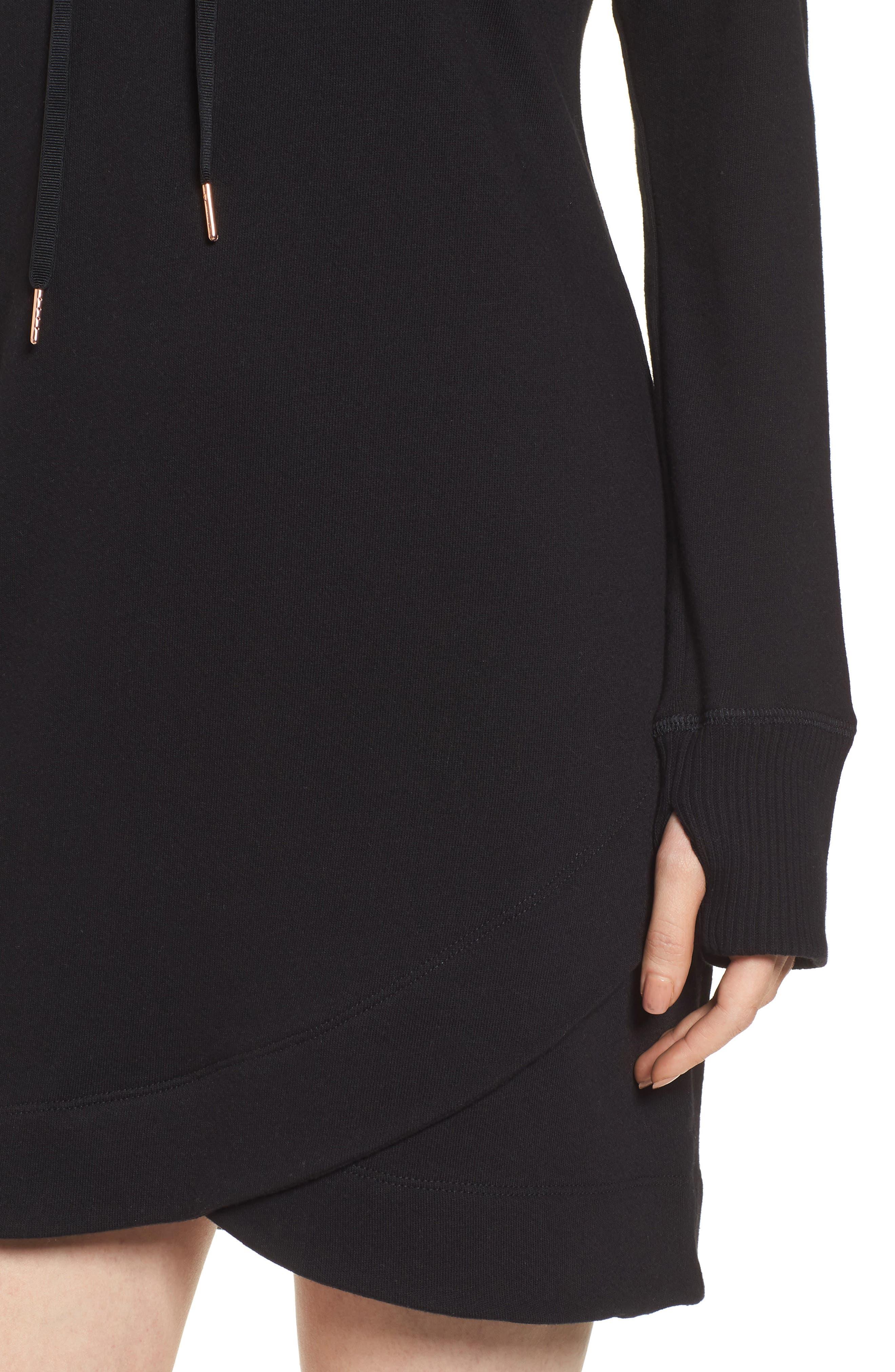 Off-Duty Hooded Sweatshirt Dress,                             Alternate thumbnail 4, color,                             001