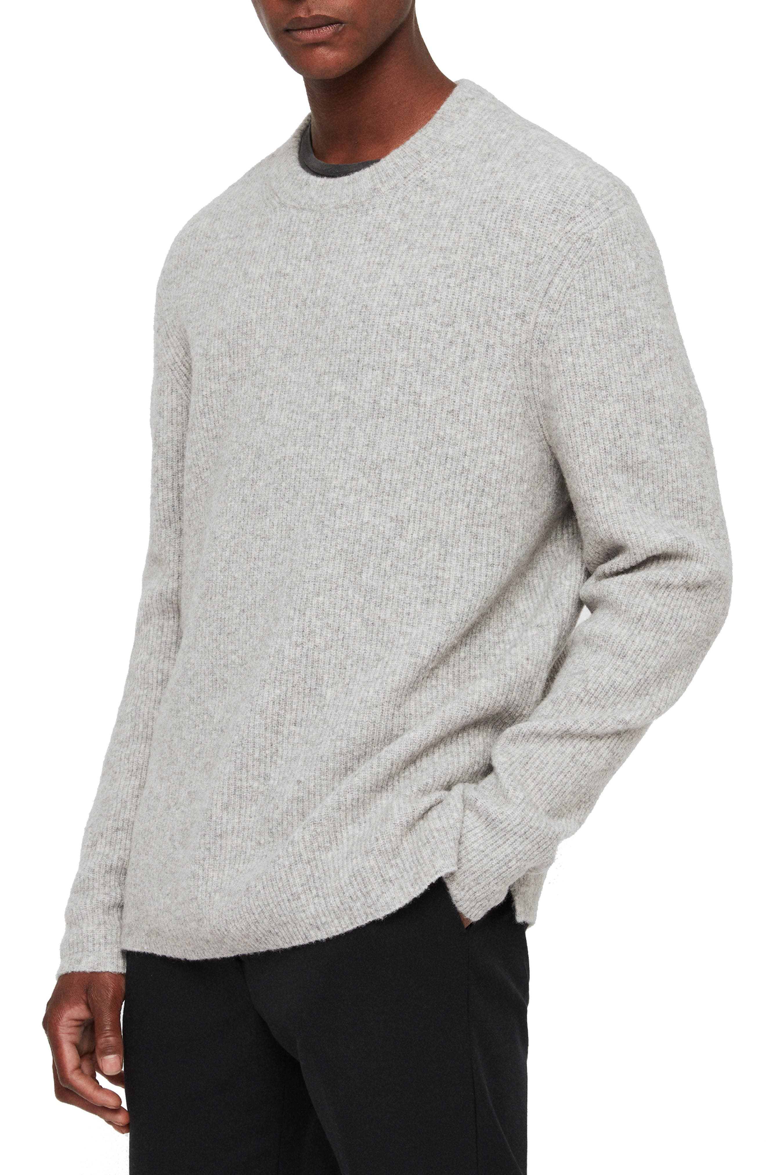 Path Wool Blend Sweater,                             Alternate thumbnail 3, color,                             LIGHT GREY MARL