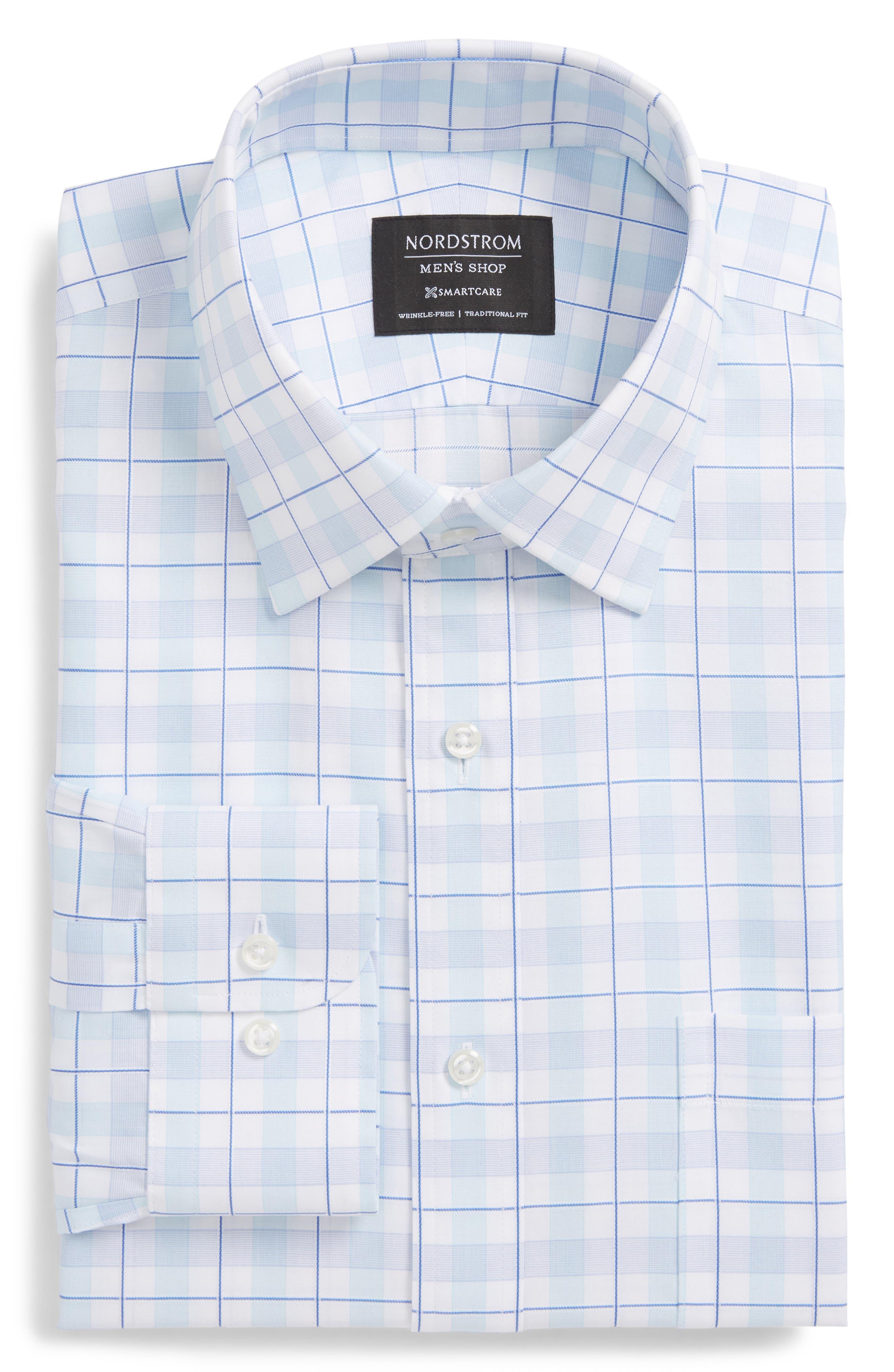 Smartcare<sup>™</sup> Traditional Fit Plaid Dress Shirt,                         Main,                         color, 450