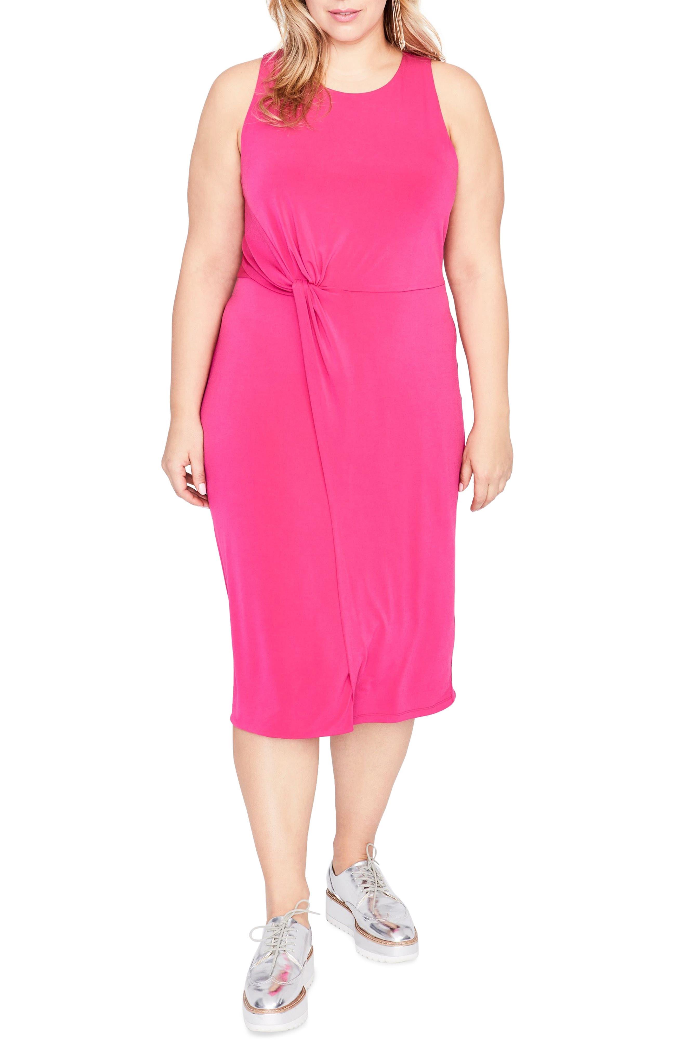 Twist Front Dress,                         Main,                         color, AZALEA