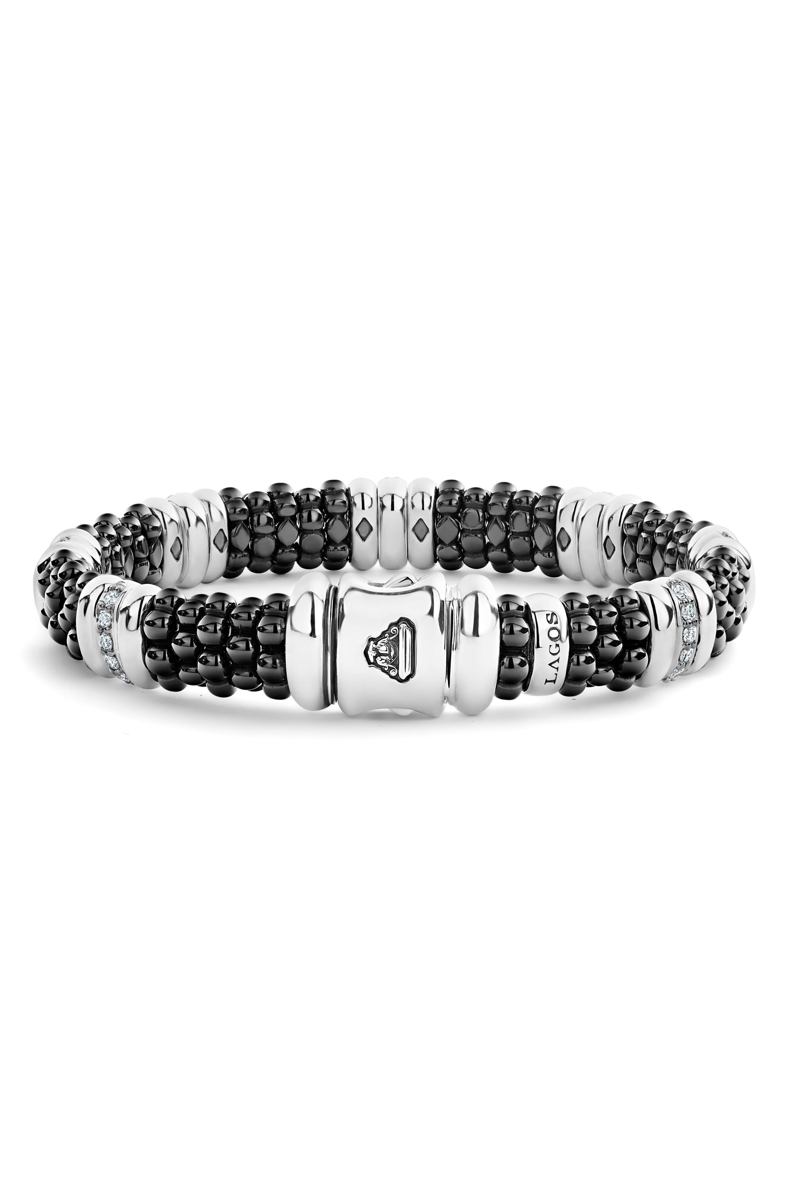 LAOGS Black Caviar Diamond 7-Link Bracelet,                             Alternate thumbnail 3, color,                             SILVER