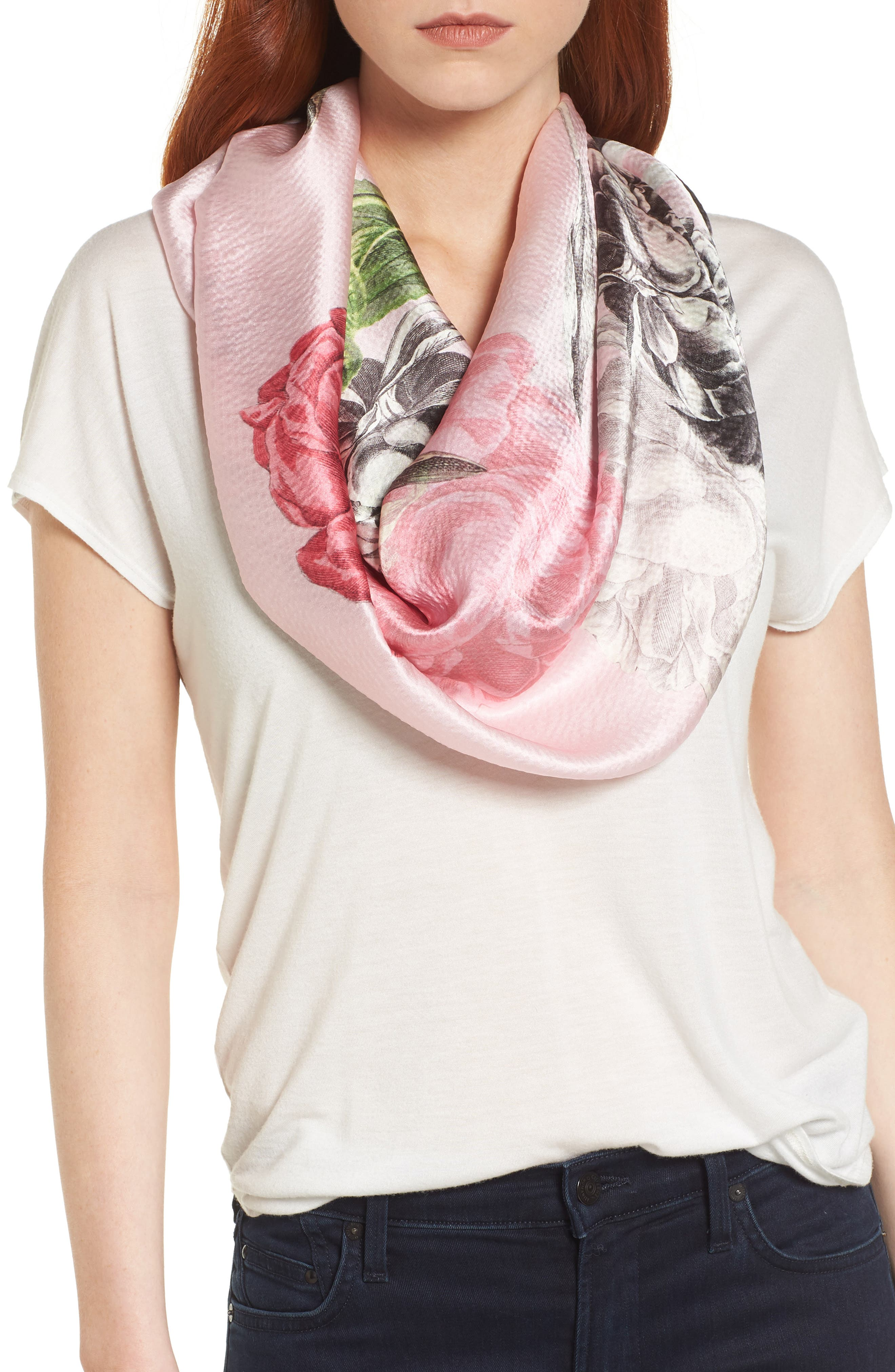 Palace Gardens Silk Cape Scarf,                             Alternate thumbnail 4, color,                             DUSKY PINK