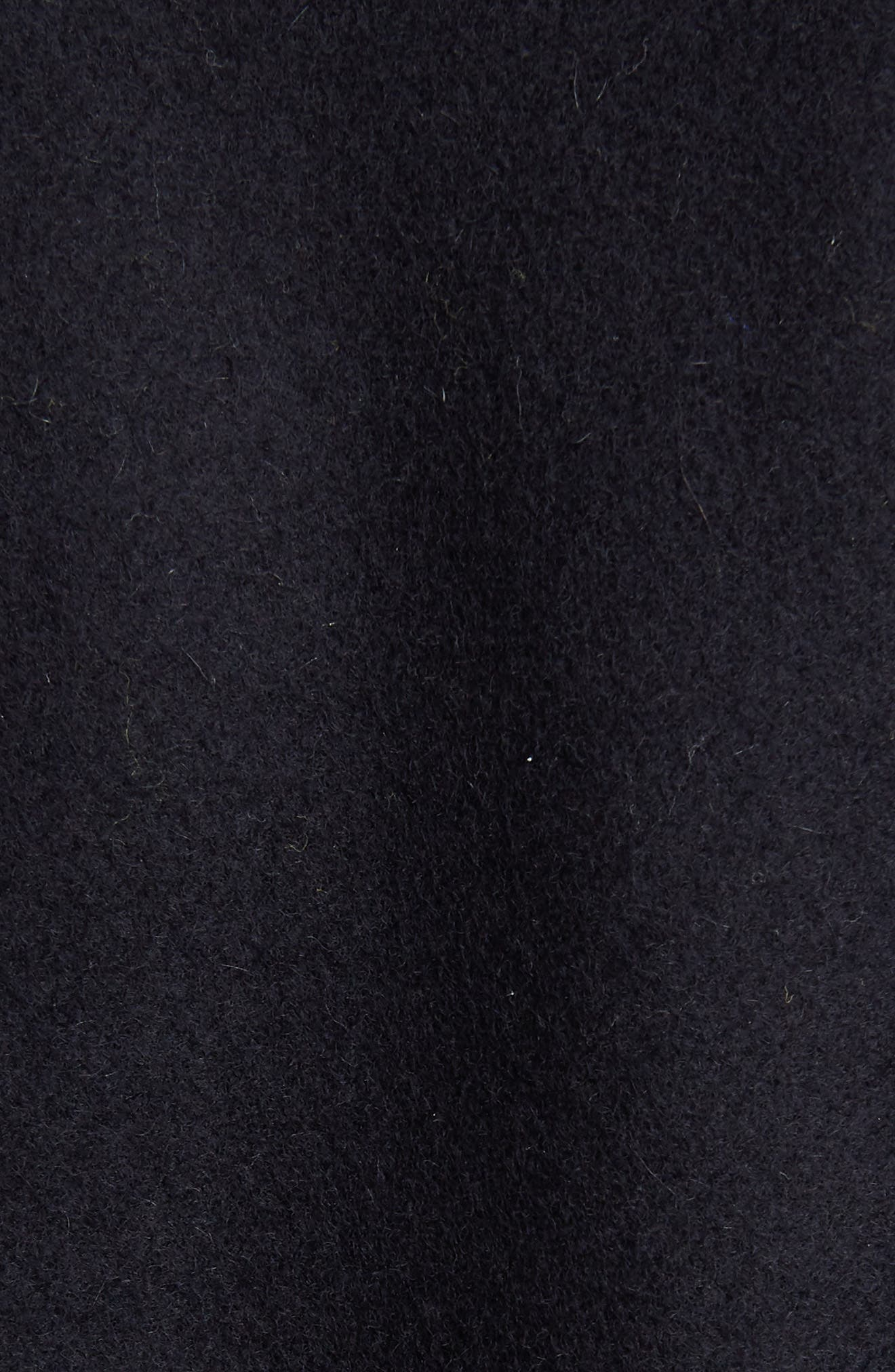 Ostrich Feather Trim Wool Blend Reefer Coat,                             Alternate thumbnail 5, color,                             NAVY