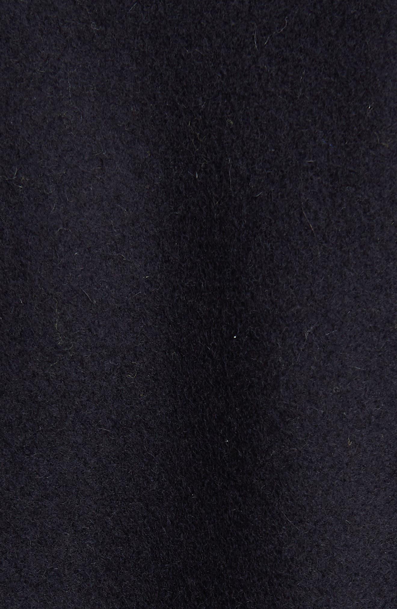 DRIES VAN NOTEN,                             Ostrich Feather Trim Wool Blend Reefer Coat,                             Alternate thumbnail 5, color,                             421