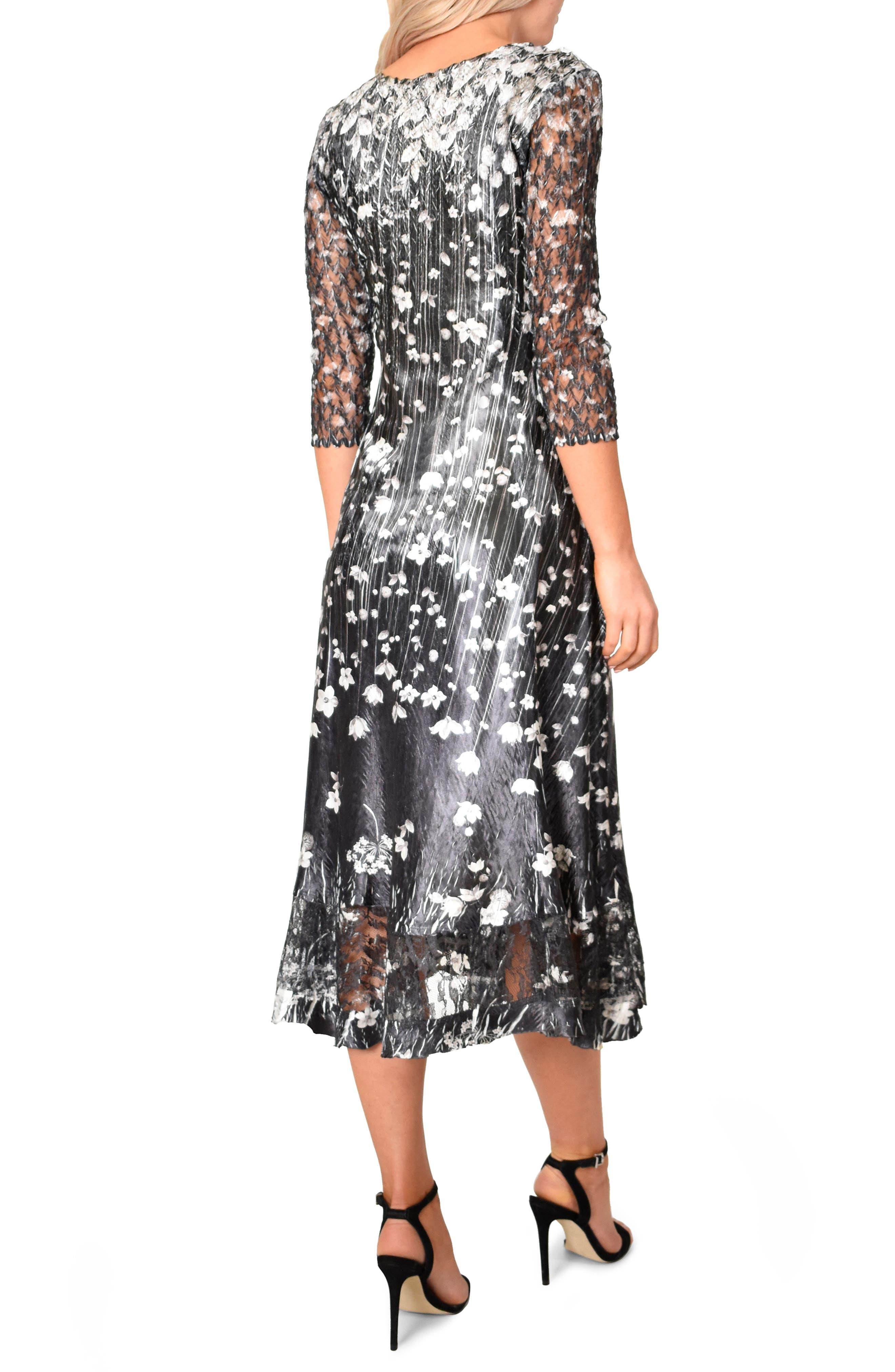 KOMAROV,                             Charmeuse A-Line Dress,                             Alternate thumbnail 2, color,                             BLACK MEADOW