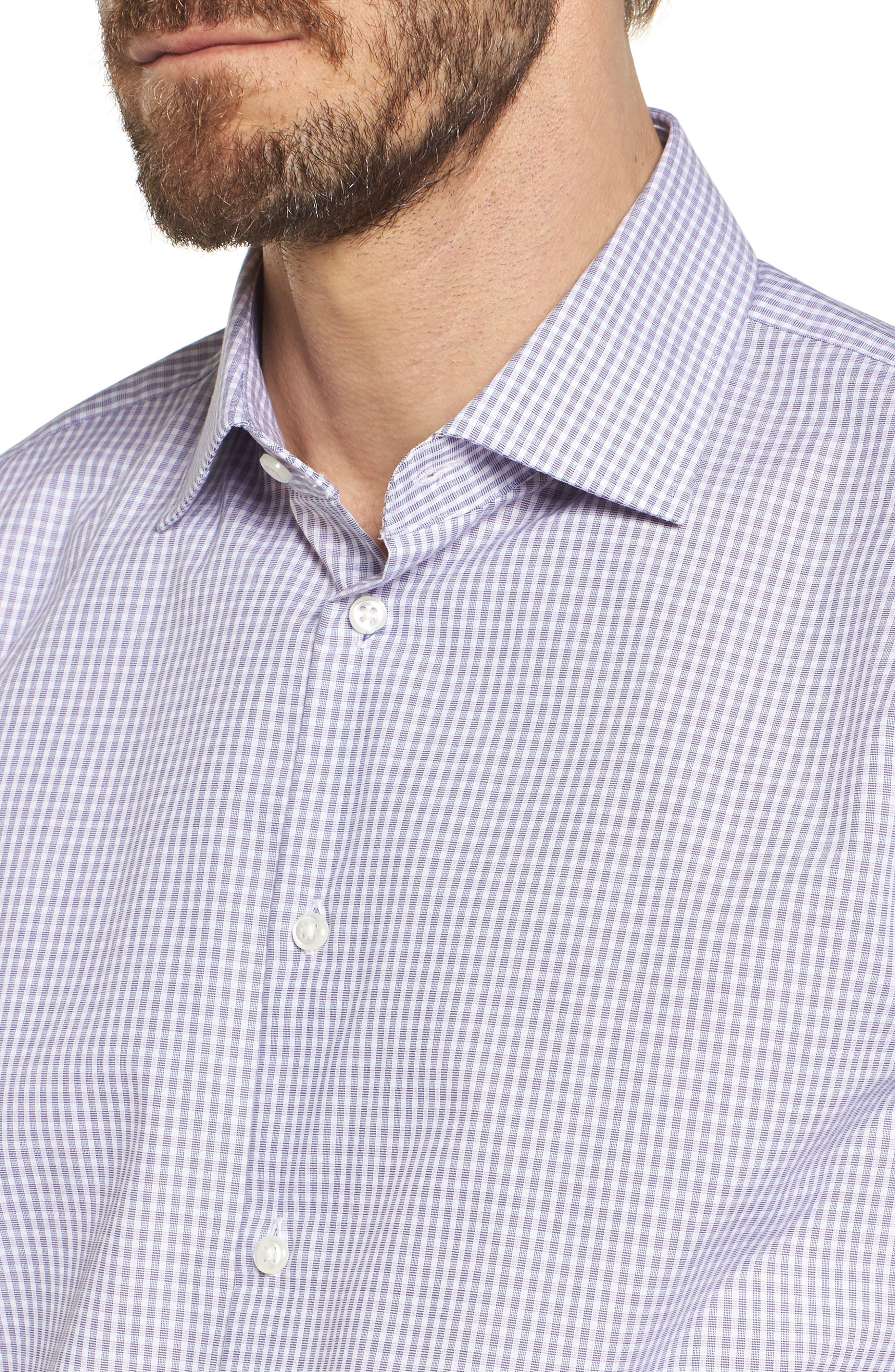 Extra Trim Fit Non-Iron Check Dress Shirt,                             Alternate thumbnail 5, color,