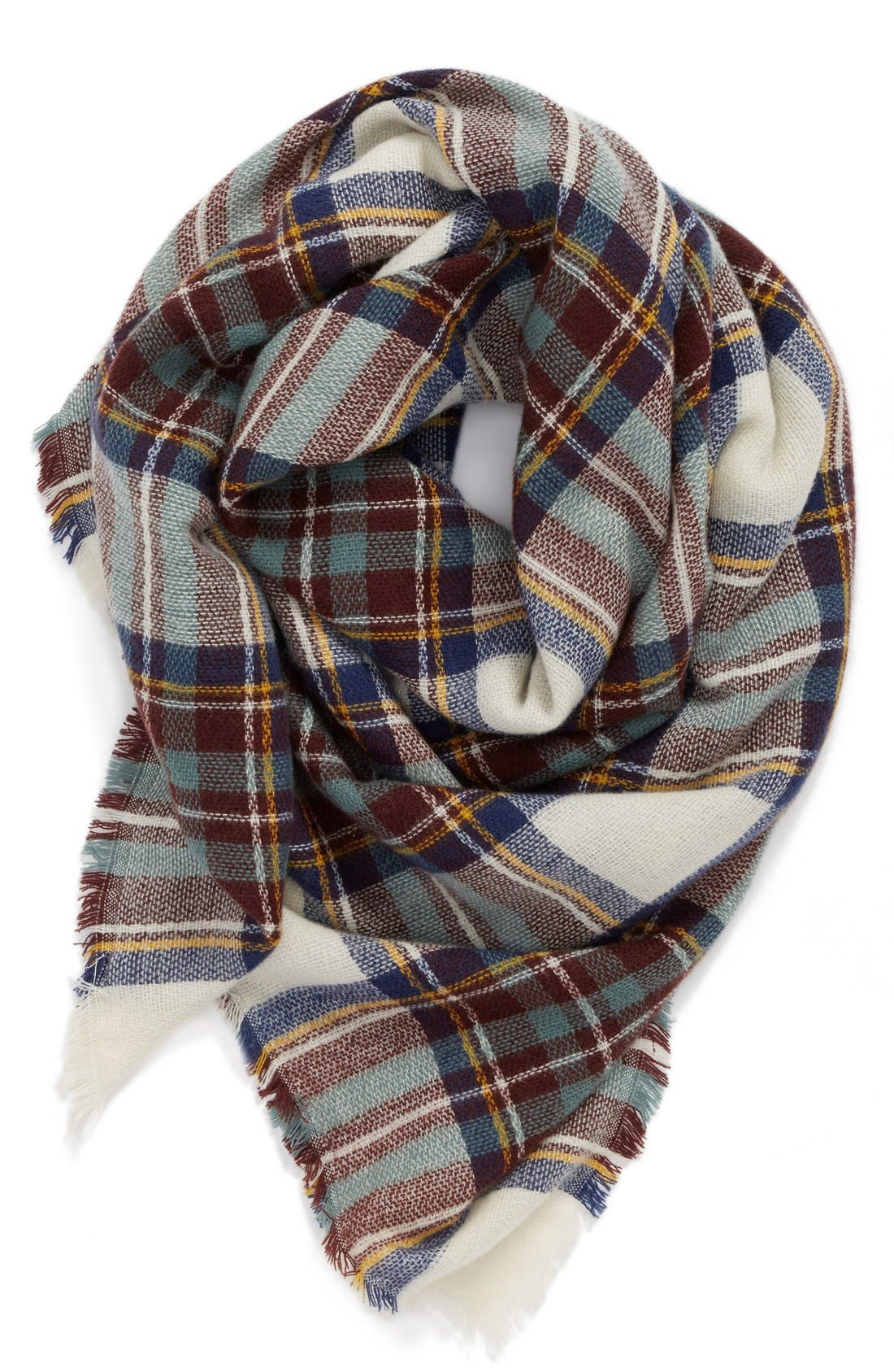 Plaid Blanket Scarf,                         Main,                         color, 100