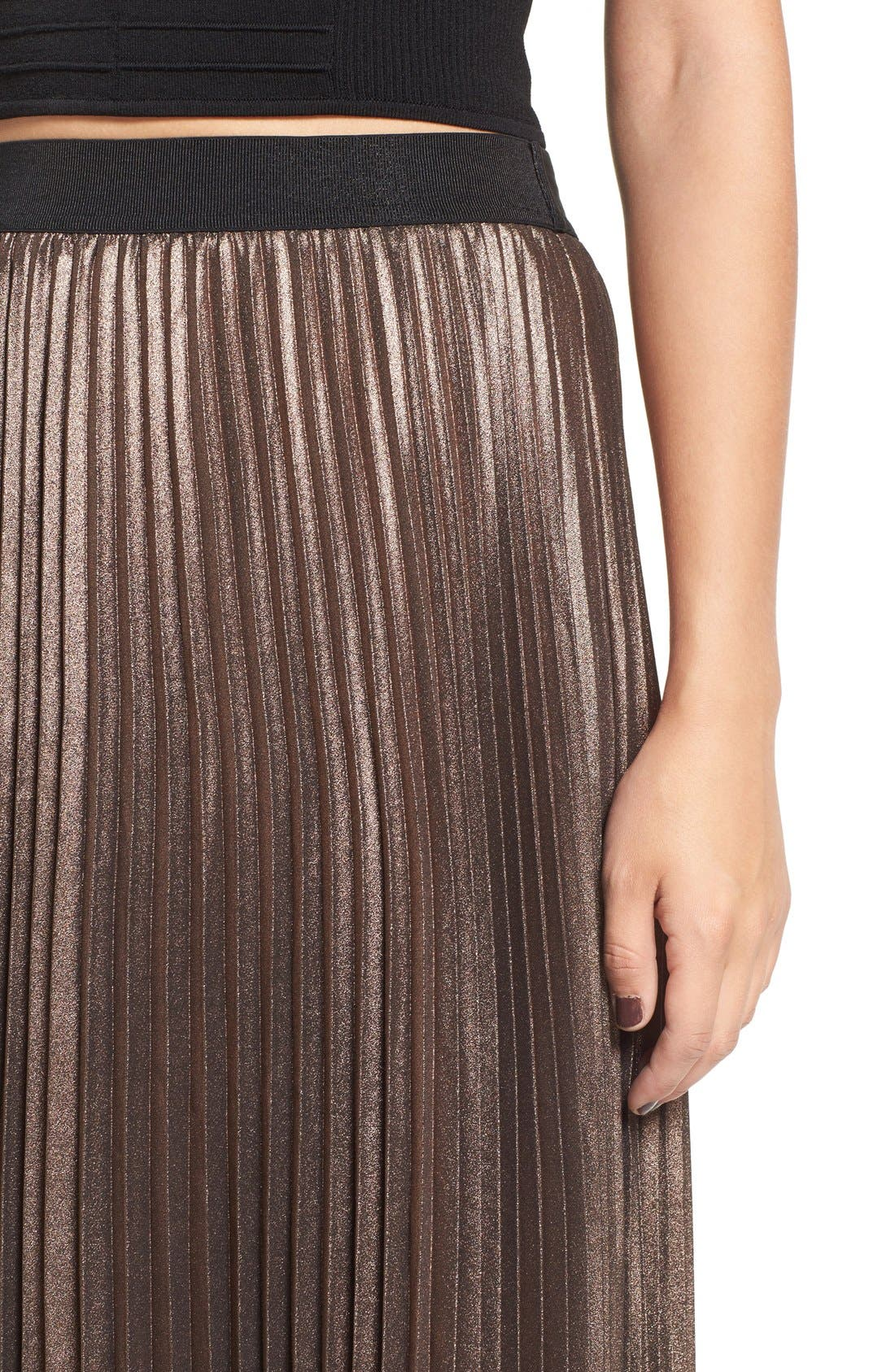 Metallic Pleated Midi Skirt,                             Alternate thumbnail 4, color,                             220