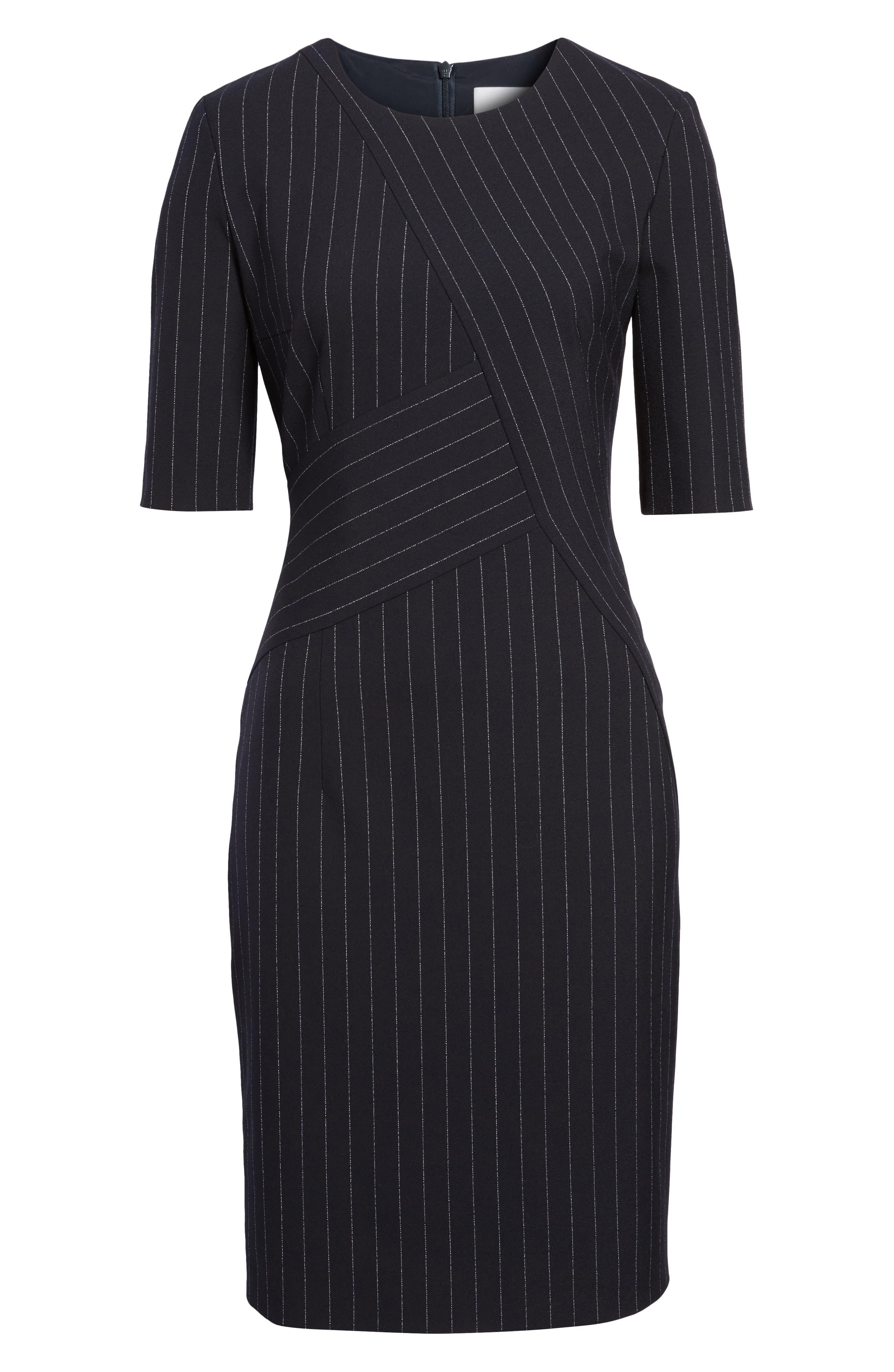 Dalayara Pinstripe Sheath Dress,                             Alternate thumbnail 6, color,                             461