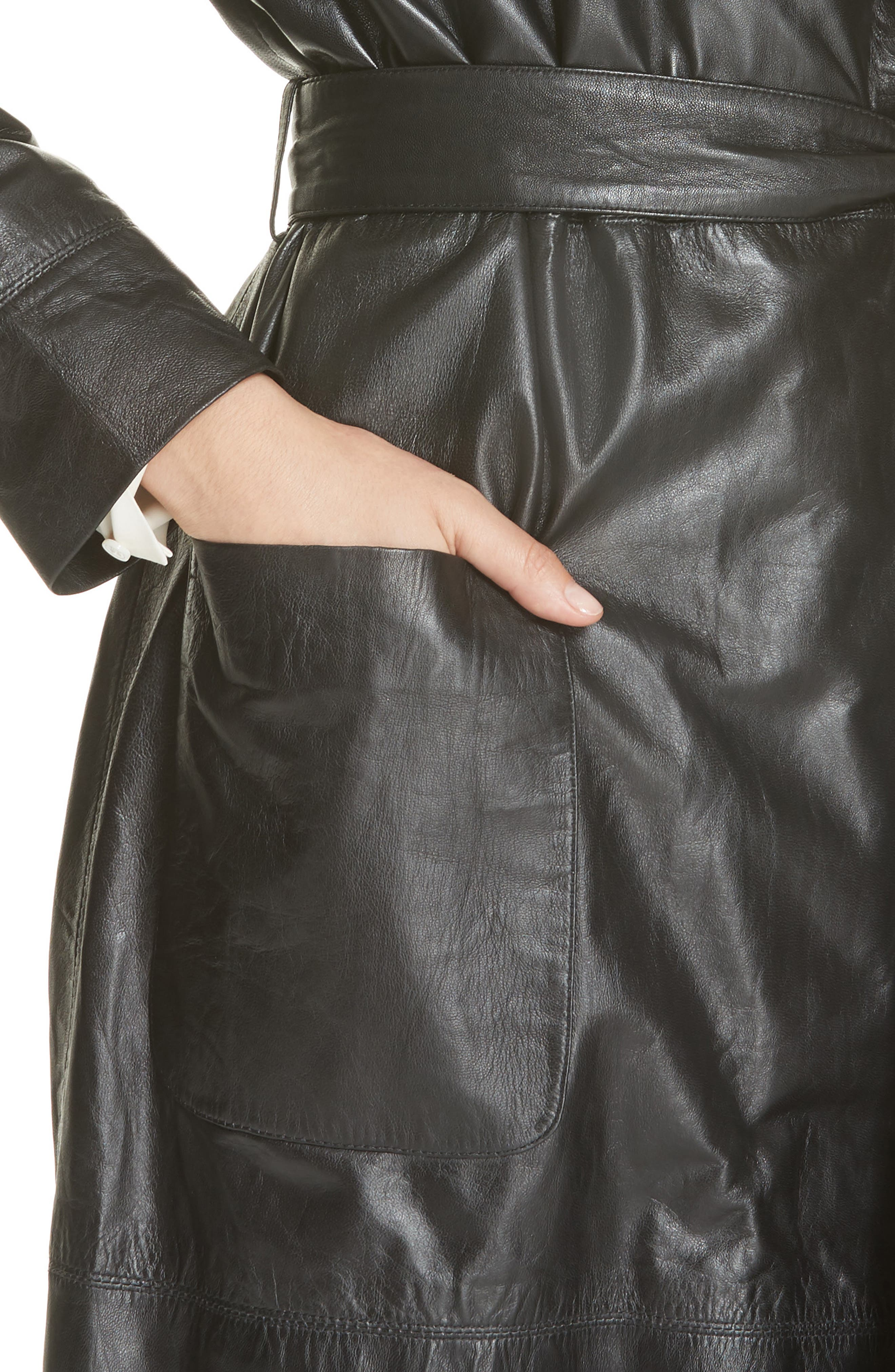 Leather Trench Coat,                             Alternate thumbnail 4, color,                             BLACK