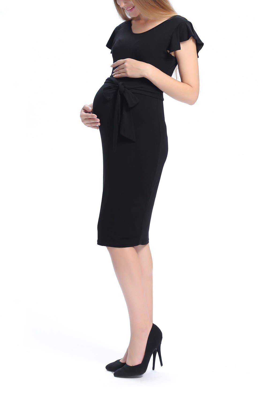Lucile Ruffle Sleeve Maternity Dress,                             Alternate thumbnail 3, color,                             BLACK