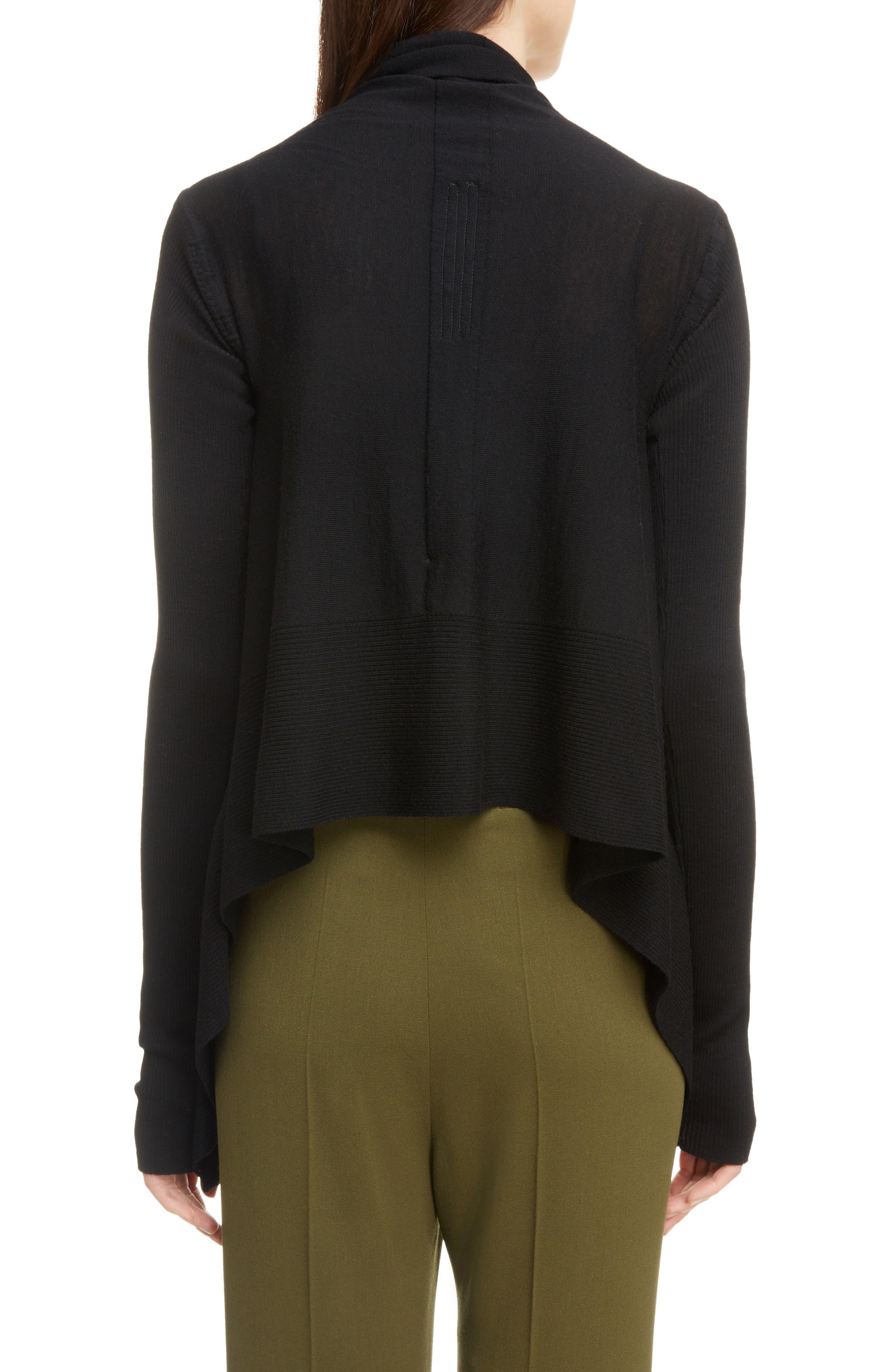 Merino Wool Drape Cardigan,                             Alternate thumbnail 2, color,                             BLACK