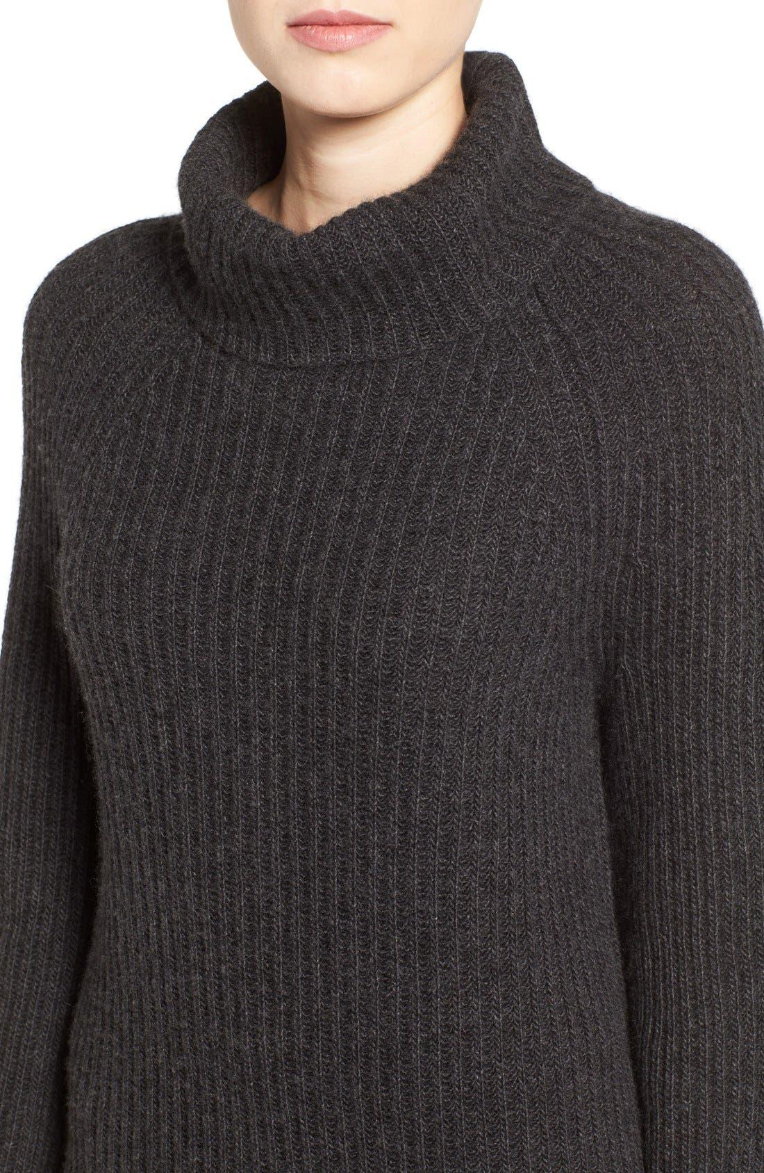 Ribbed Cashmere Turtleneck Sweater,                             Alternate thumbnail 3, color,                             021