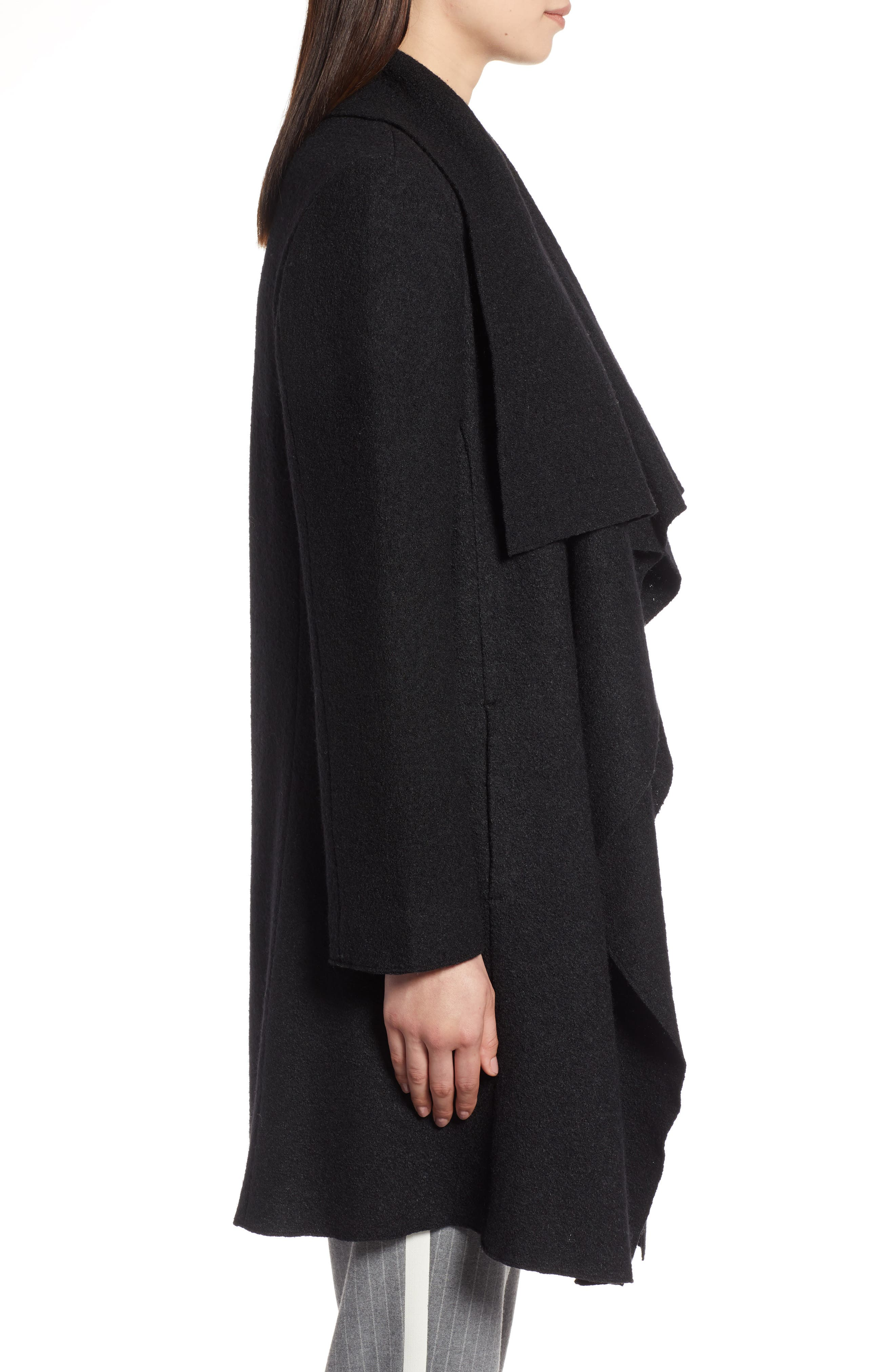 Boiled Wool Blend Drape Front Coat,                             Alternate thumbnail 3, color,                             001