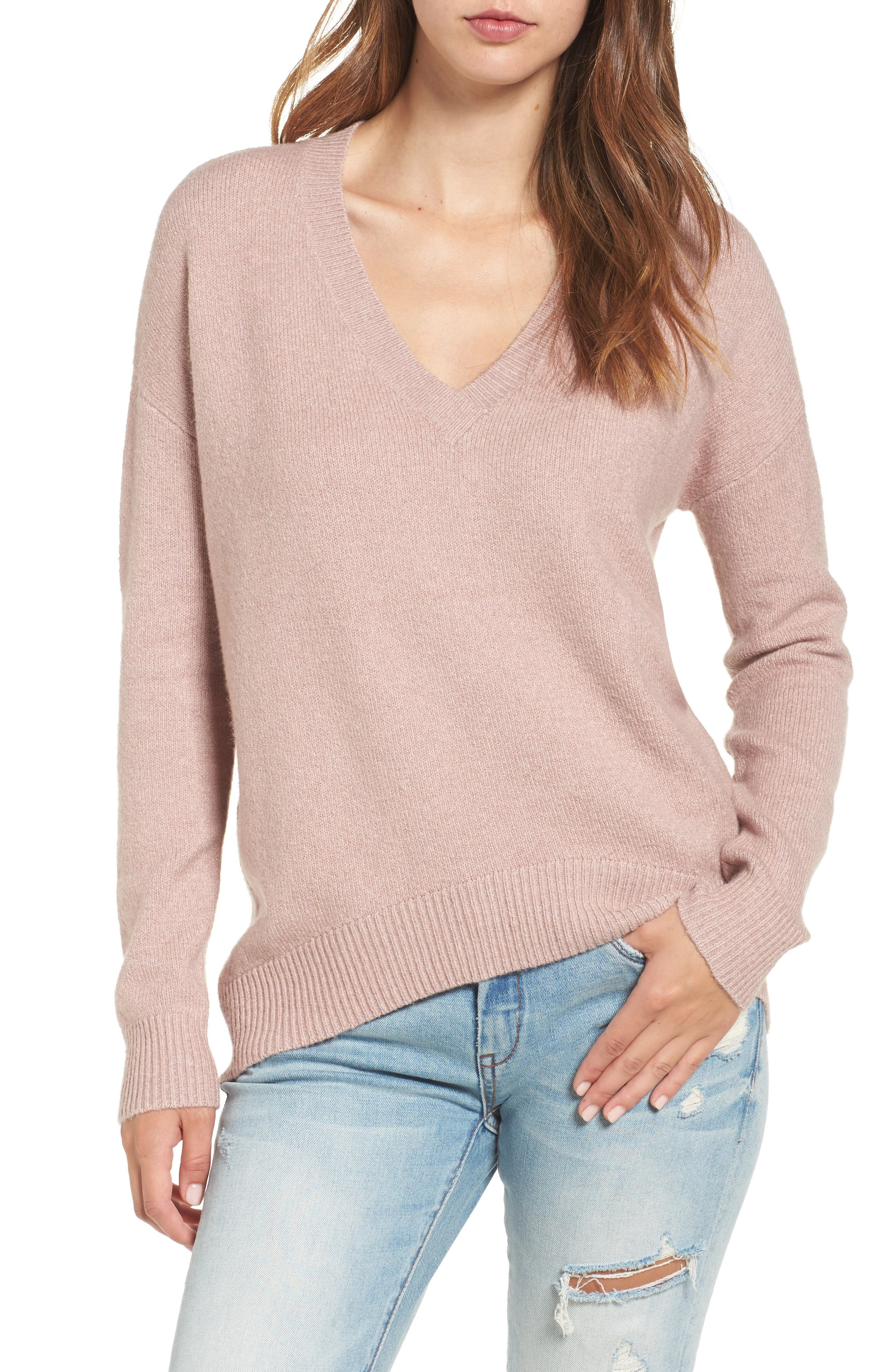 V-Neck High/Low Sweater,                             Main thumbnail 3, color,