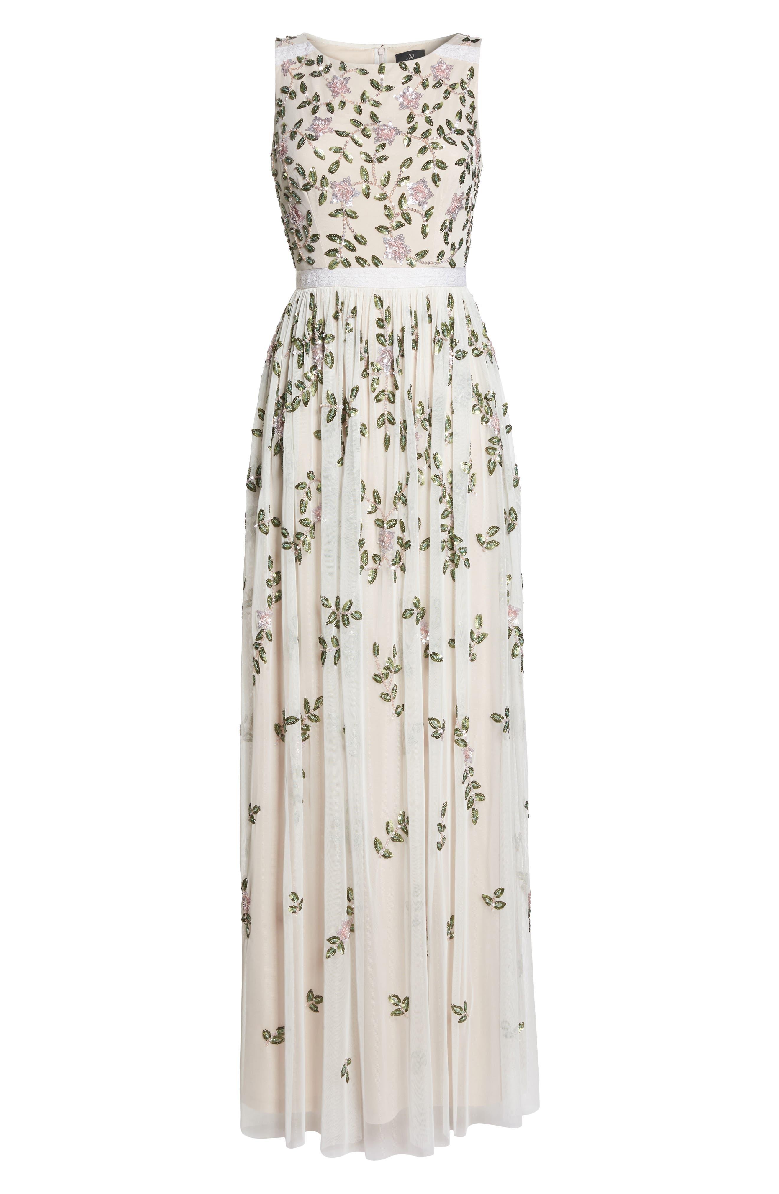 Flower Sequin Gown,                             Alternate thumbnail 6, color,