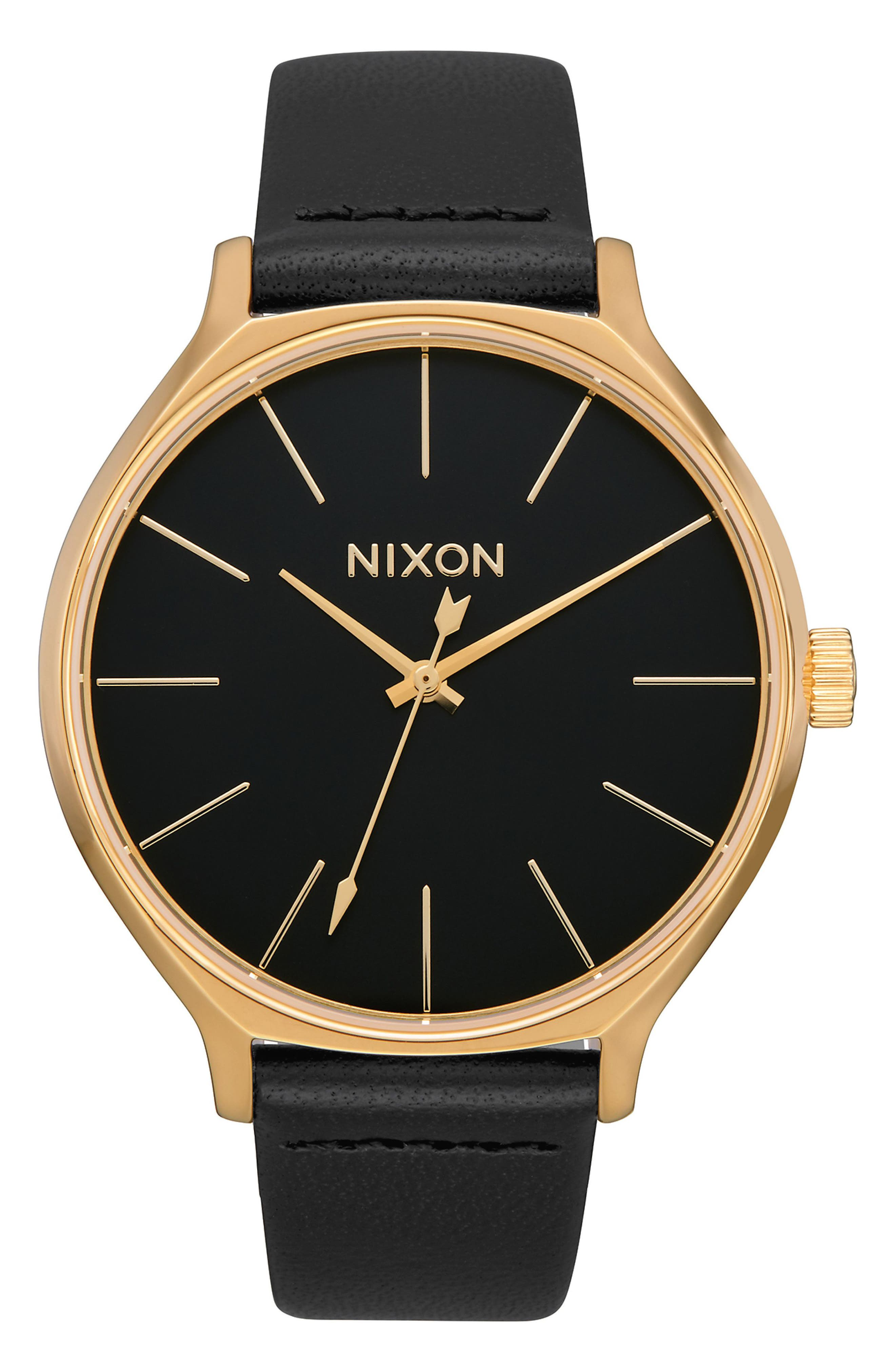 The Clique Leather Strap Watch, 38mm, Main, color, BLACK/ GOLD/ BLACK