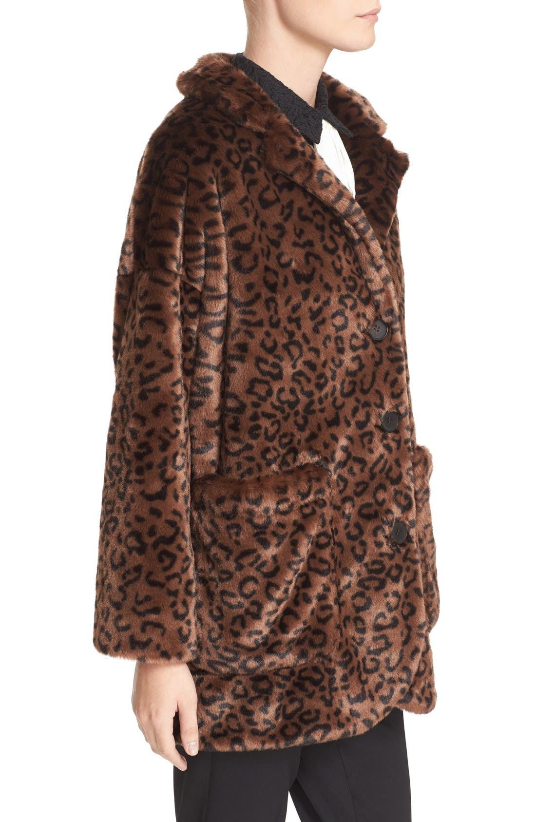 Leopard Print Faux Fur Coat,                             Alternate thumbnail 3, color,                             200