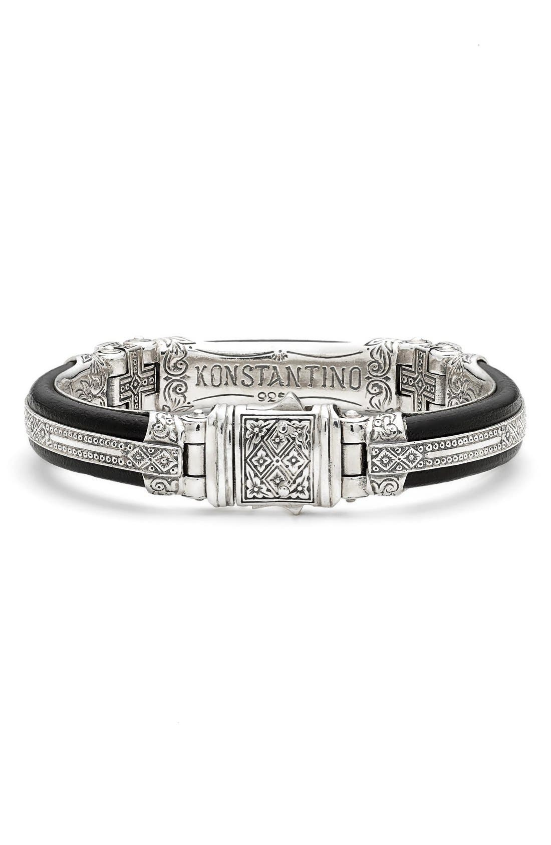 Plato Etched Sterling Silver & Leather Bracelet,                             Alternate thumbnail 2, color,                             040