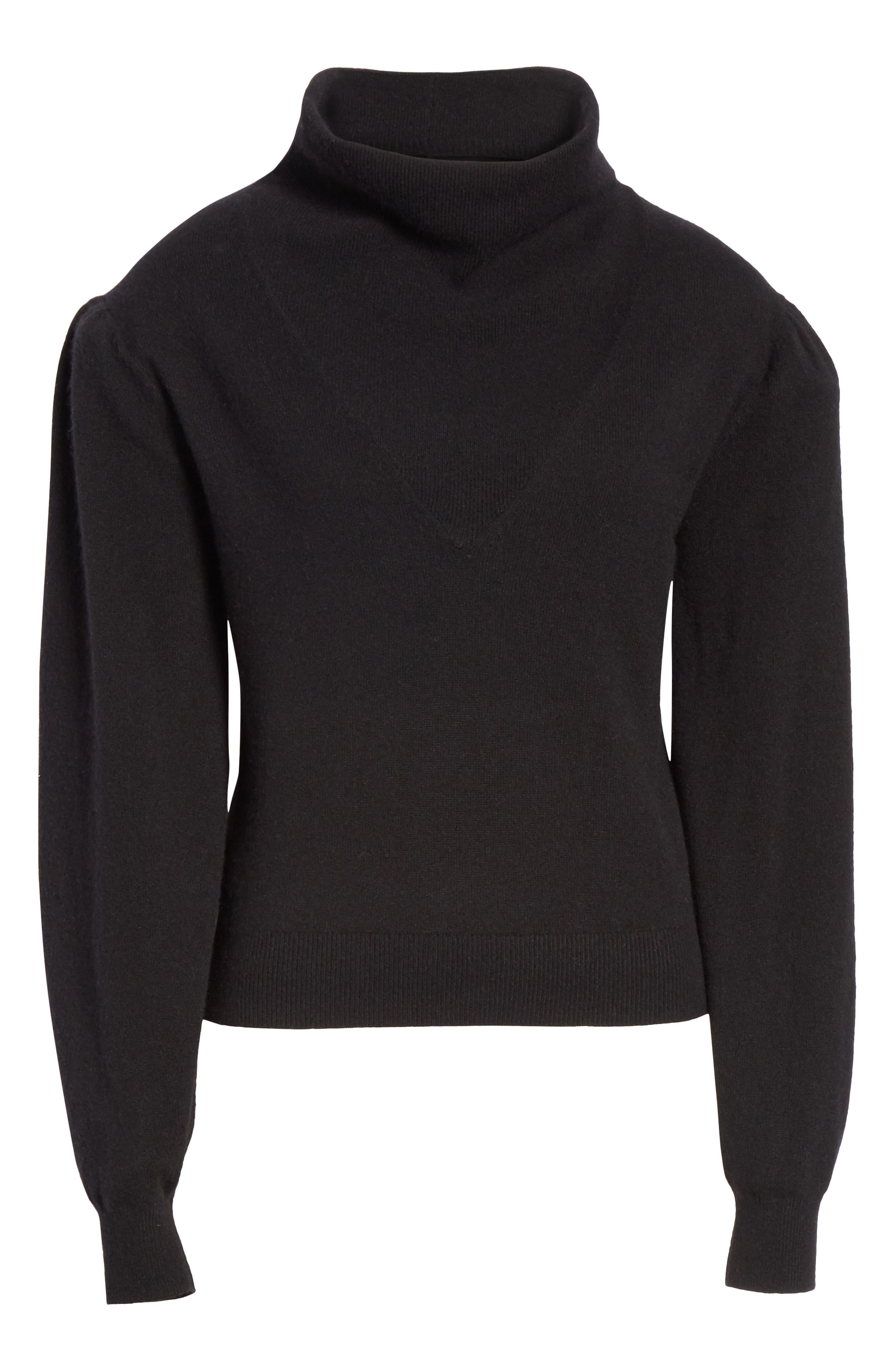 Lilla Puff Sleeve Cashmere Sweater,                             Alternate thumbnail 6, color,                             BLACK