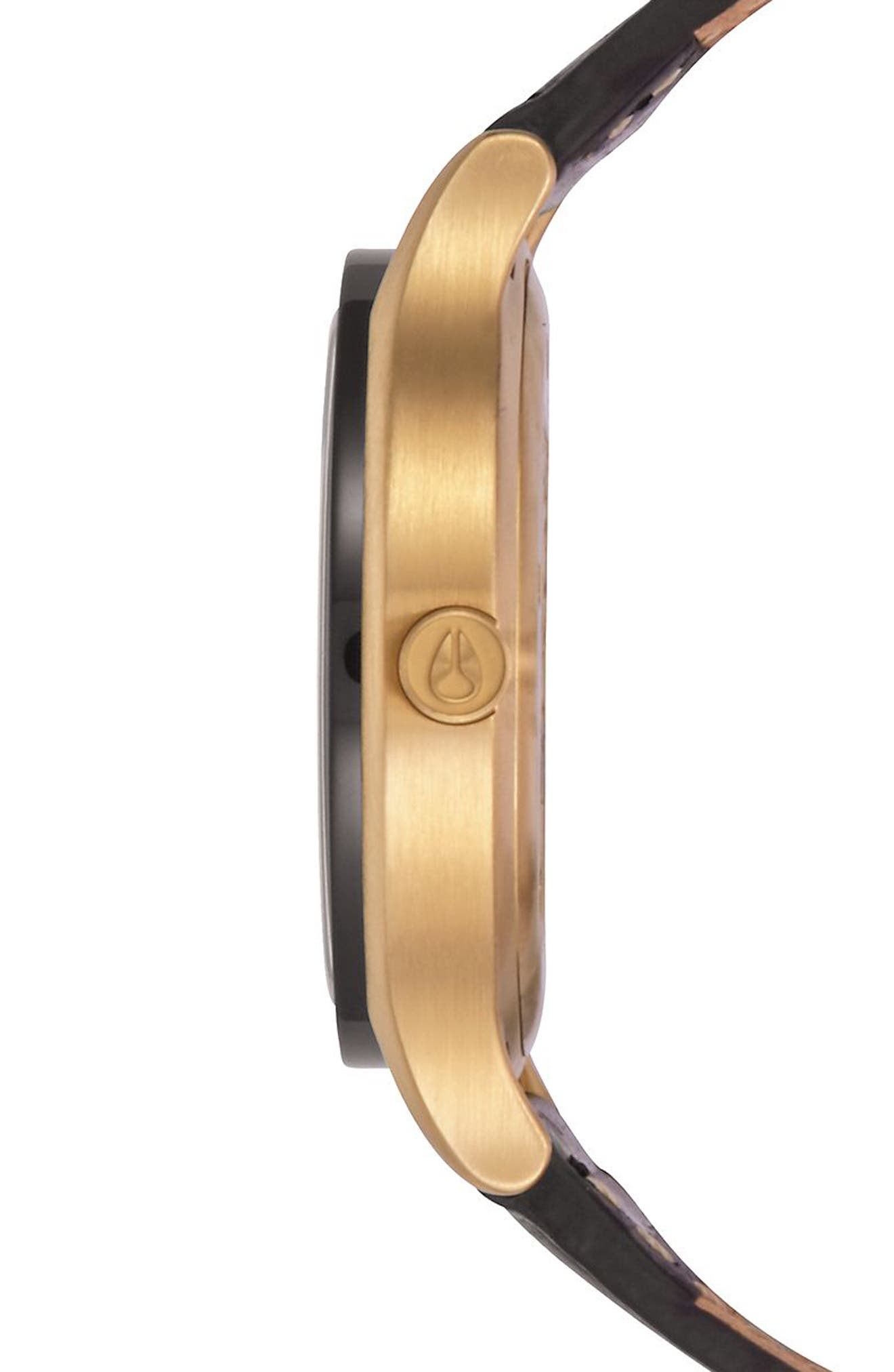 Sala Leather Strap Watch, 38mm,                             Alternate thumbnail 2, color,                             BLACK/ GOLD