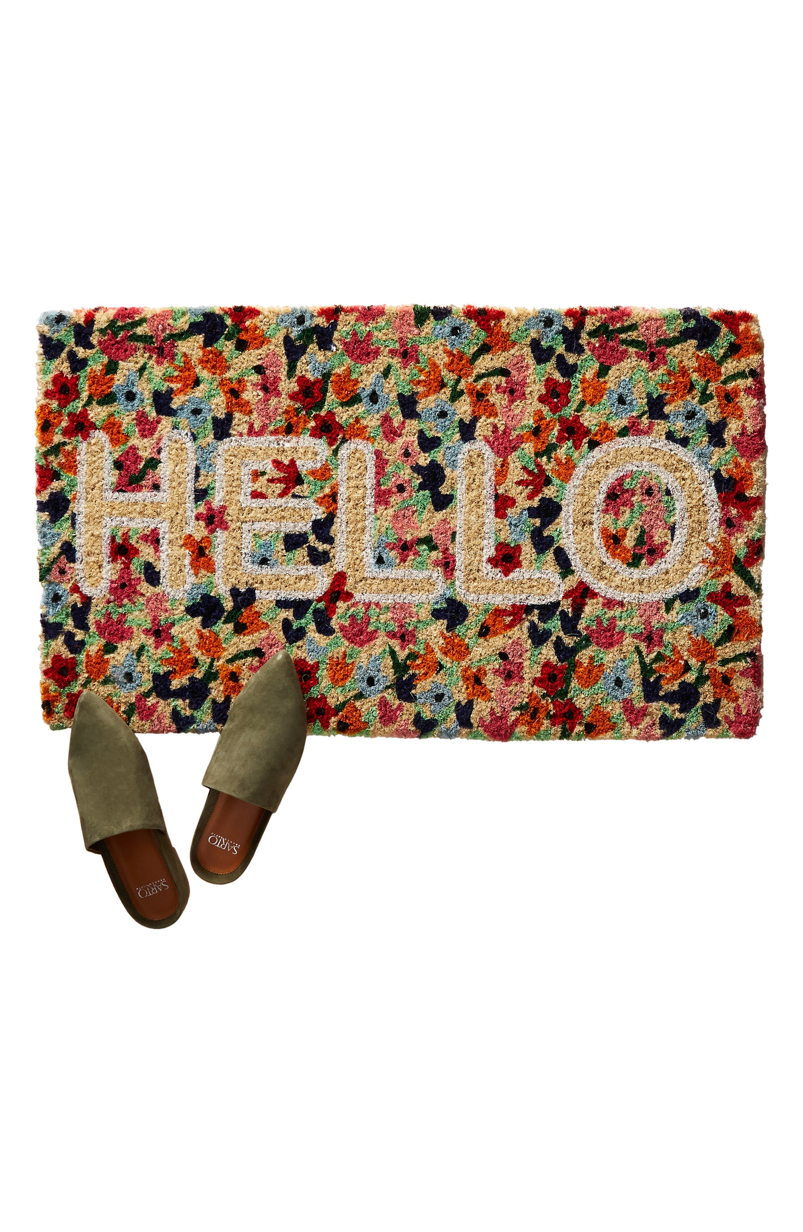 ANTHROPOLOGIE,                             Floral Hello Door Mat,                             Alternate thumbnail 3, color,                             RED COMBO