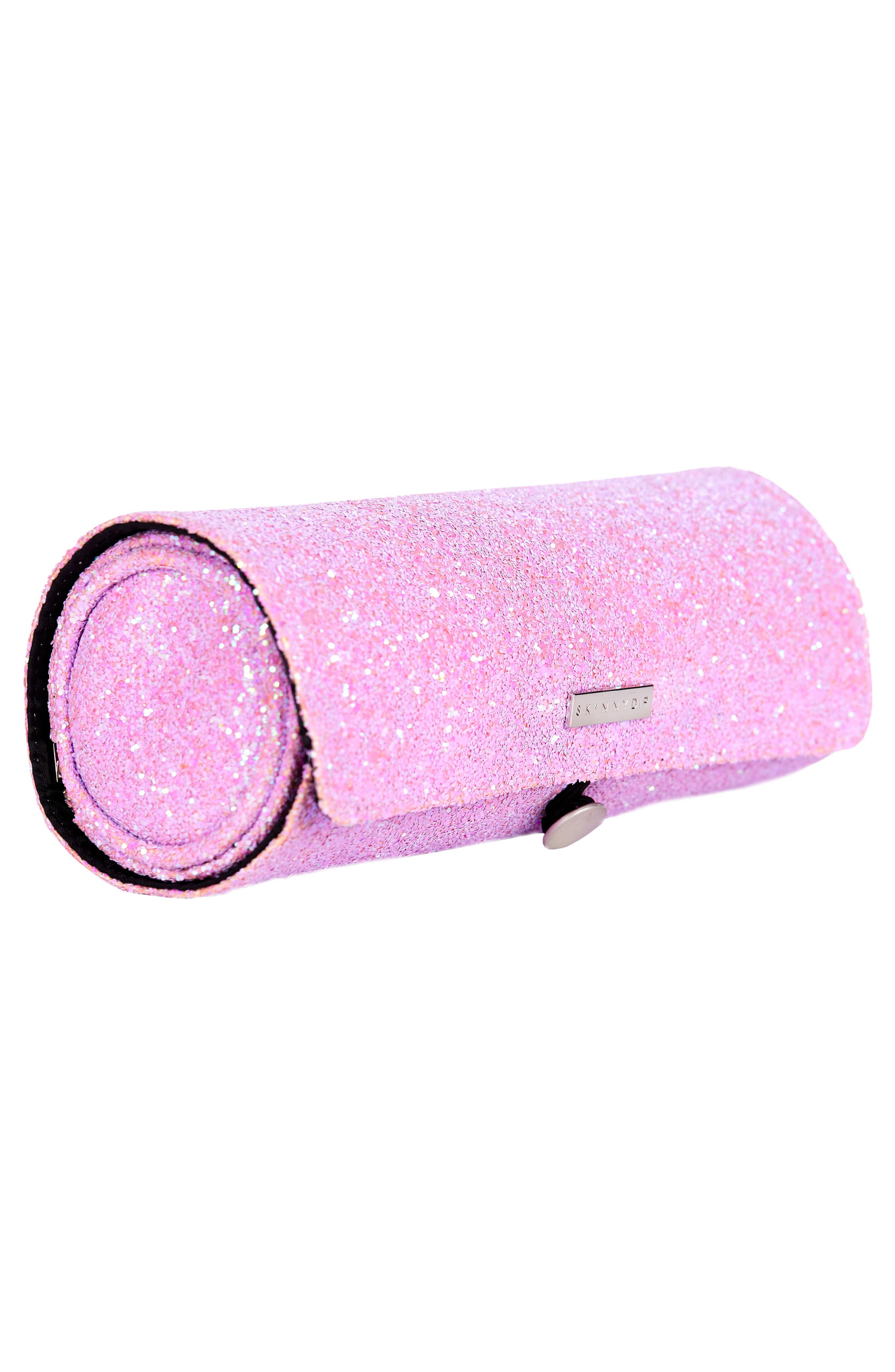 Skinny Dip Pink Glitsy Brush Roll,                             Alternate thumbnail 3, color,                             NO COLOR