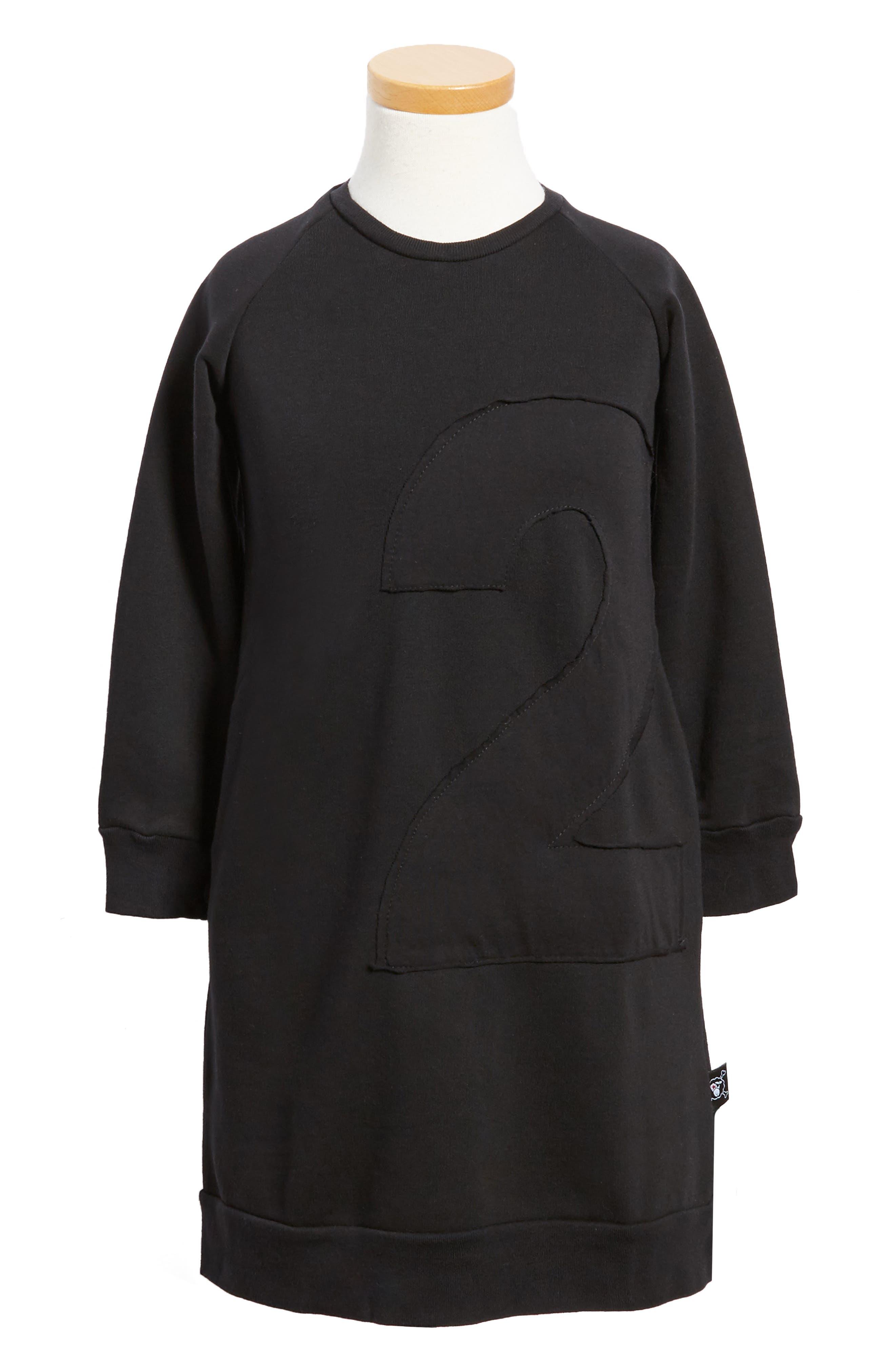 Puffy Number Sweashirt Dress,                         Main,                         color,