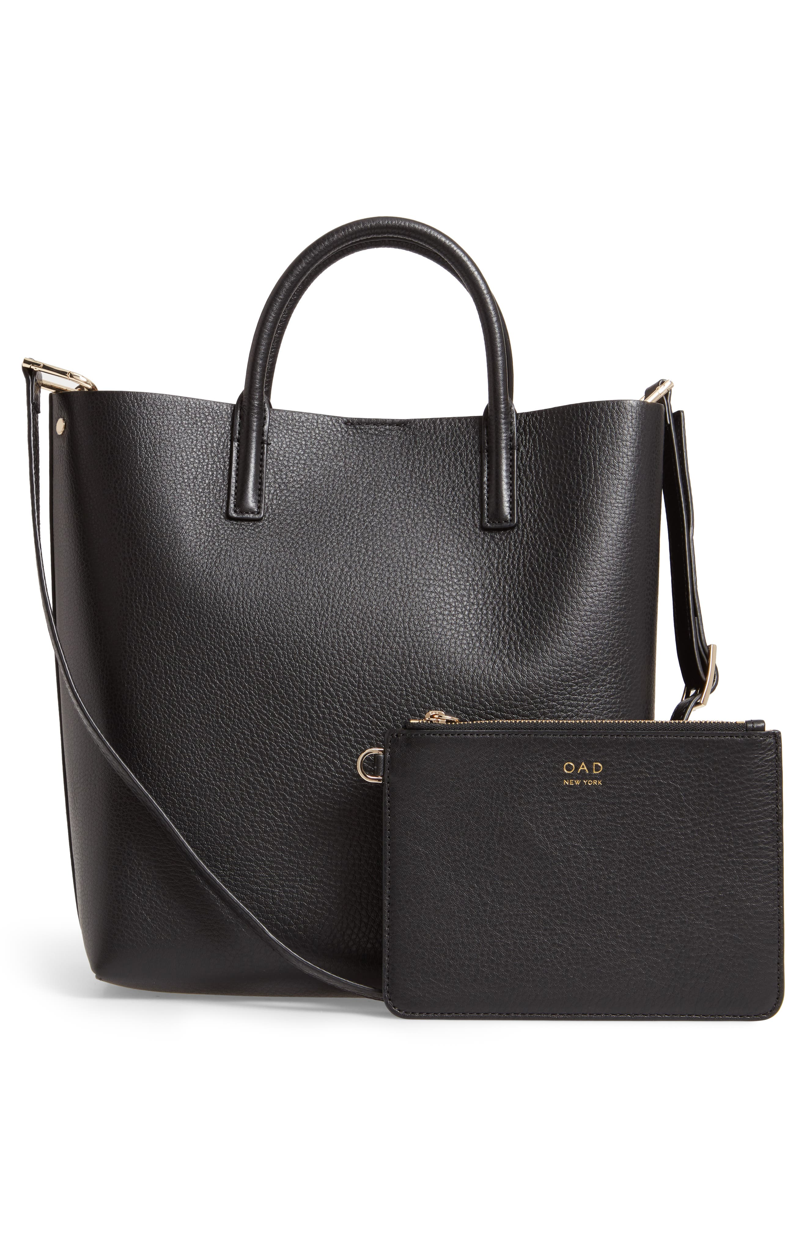 Tall Carryall Pebbled Leather Tote,                             Alternate thumbnail 3, color,                             TRUE BLACK