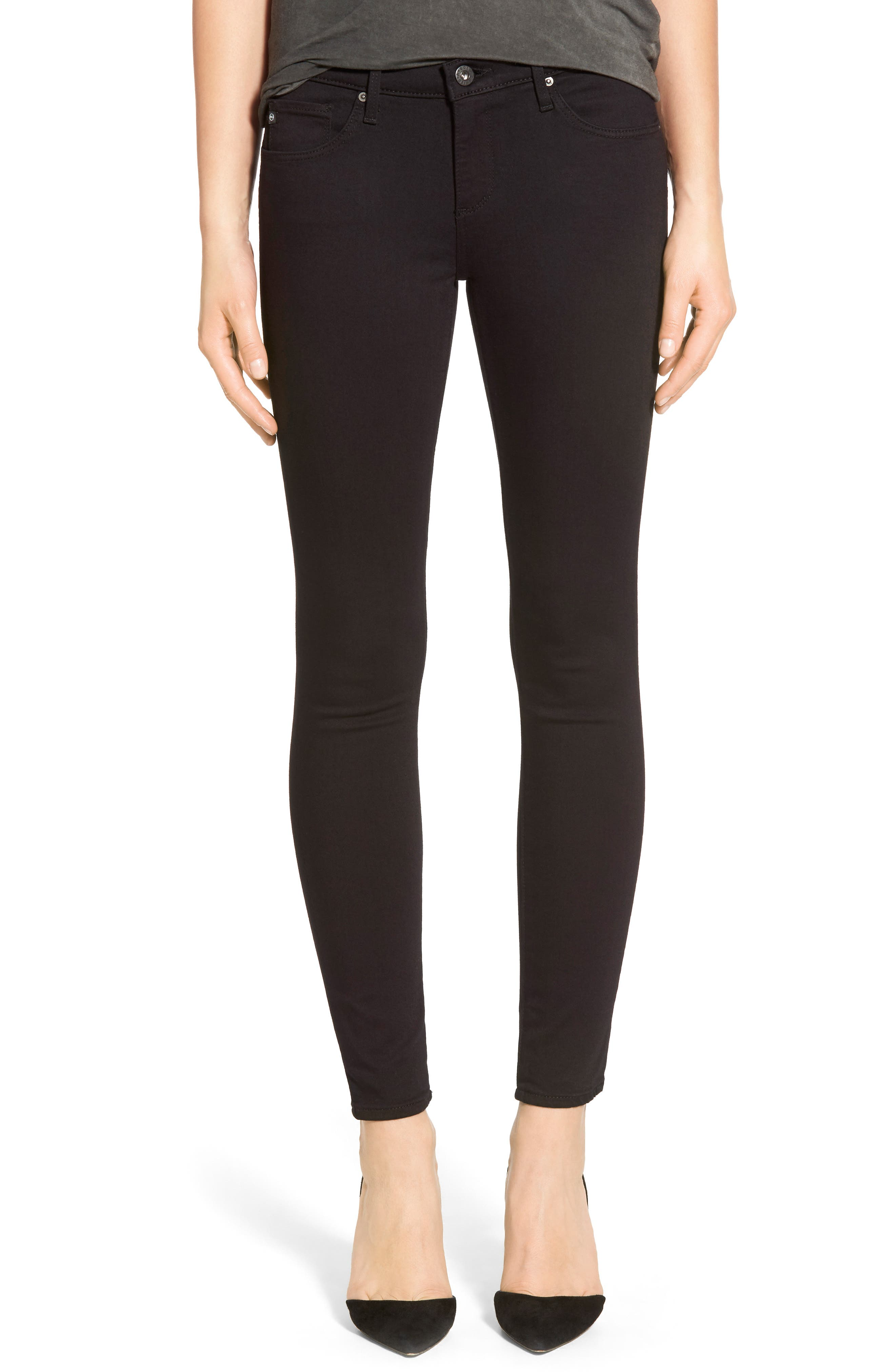 'The Legging' Ankle Super Skinny Jeans,                             Main thumbnail 1, color,                             SUPER BLACK