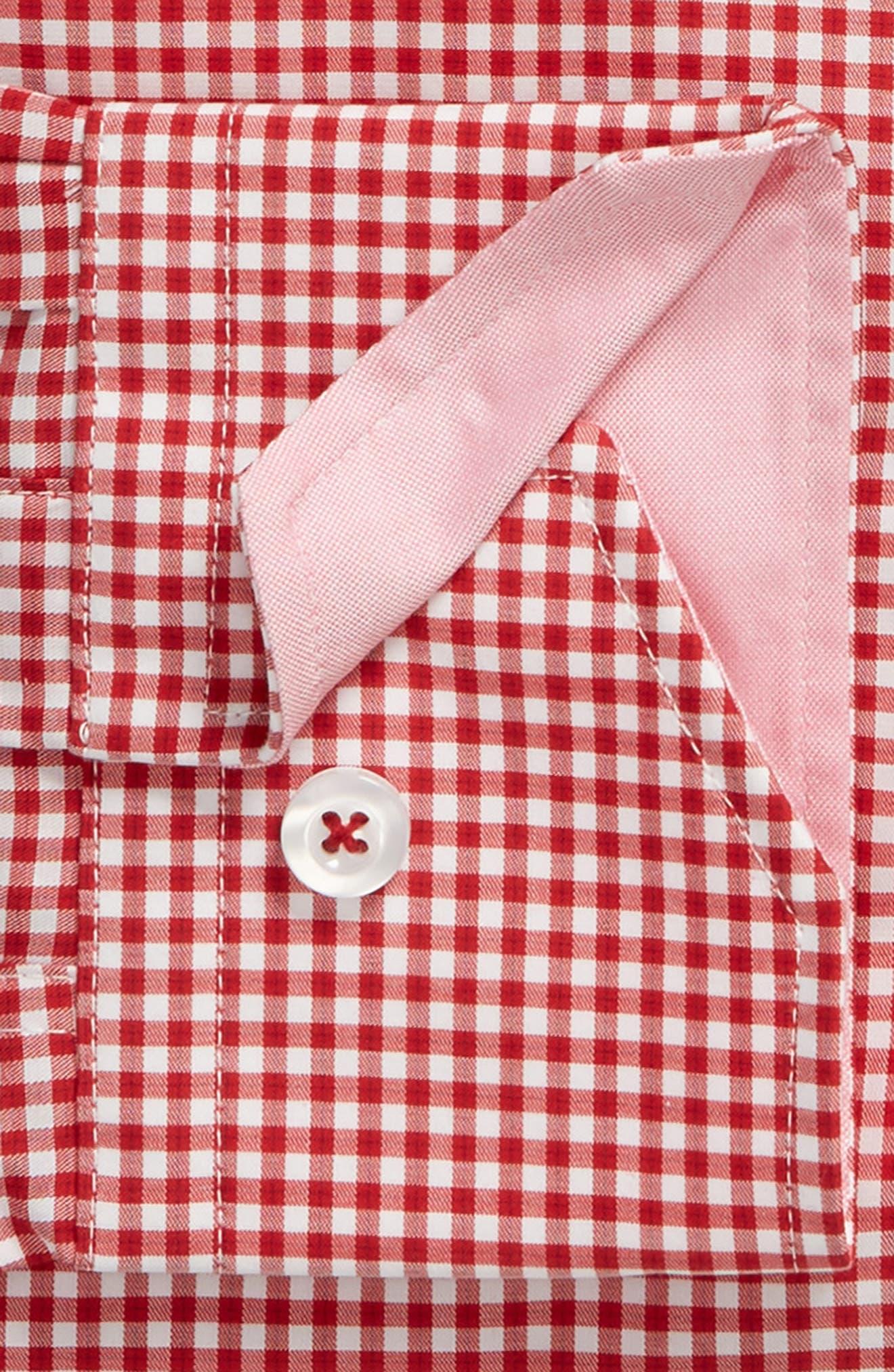 Trim Fit Check Dress Shirt,                             Alternate thumbnail 6, color,                             RED