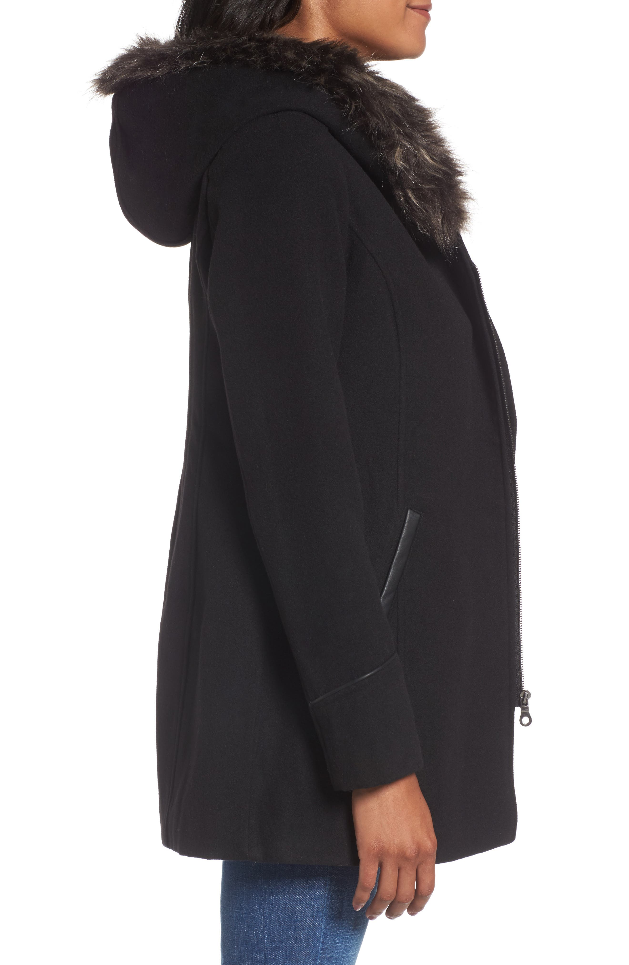 Asymmetrical Zip Jacket with Faux Fur Collar,                             Alternate thumbnail 3, color,                             001