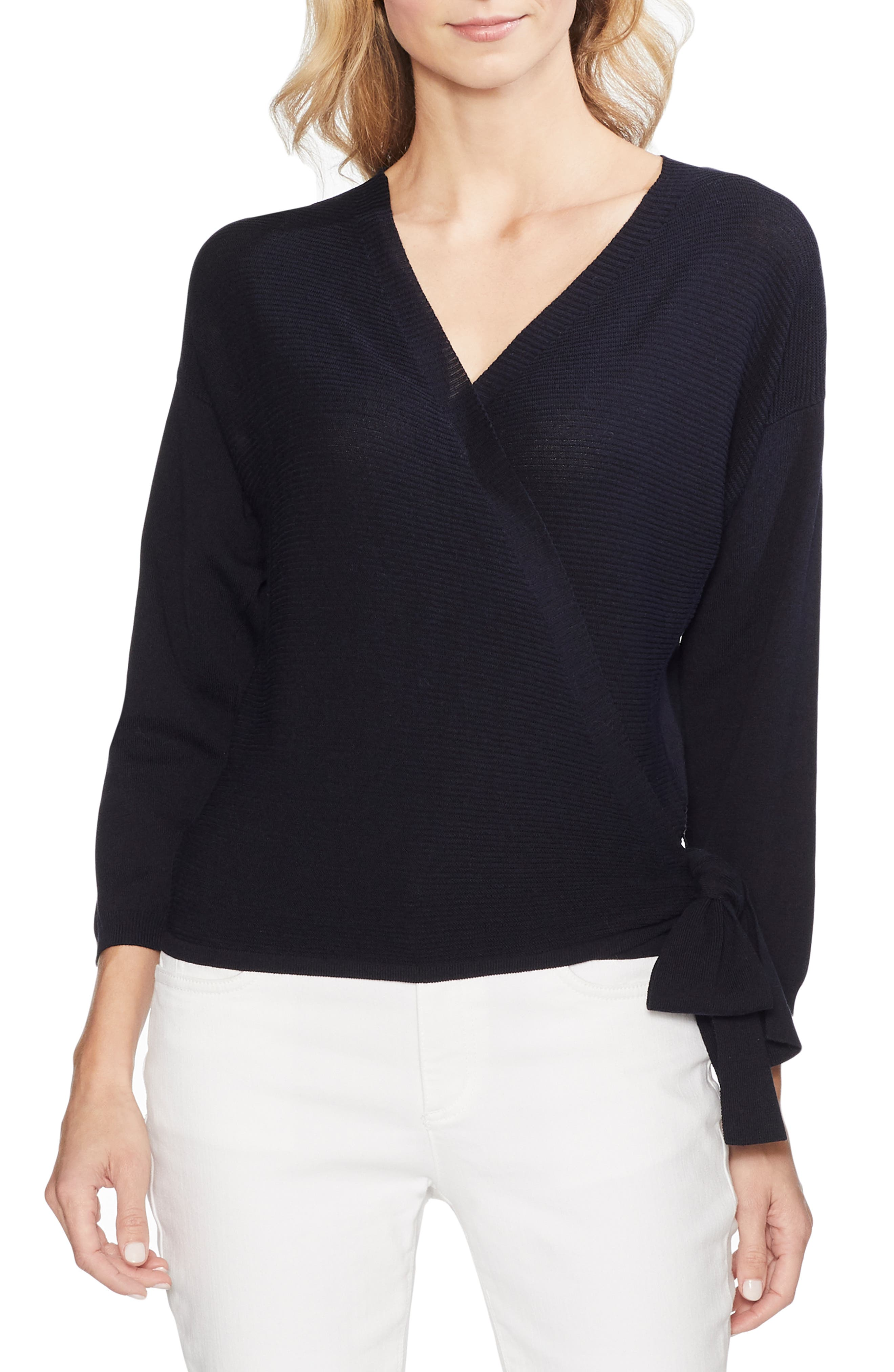 Vince Camuto Sweaters RIBBED SIDE TIE SWEATER