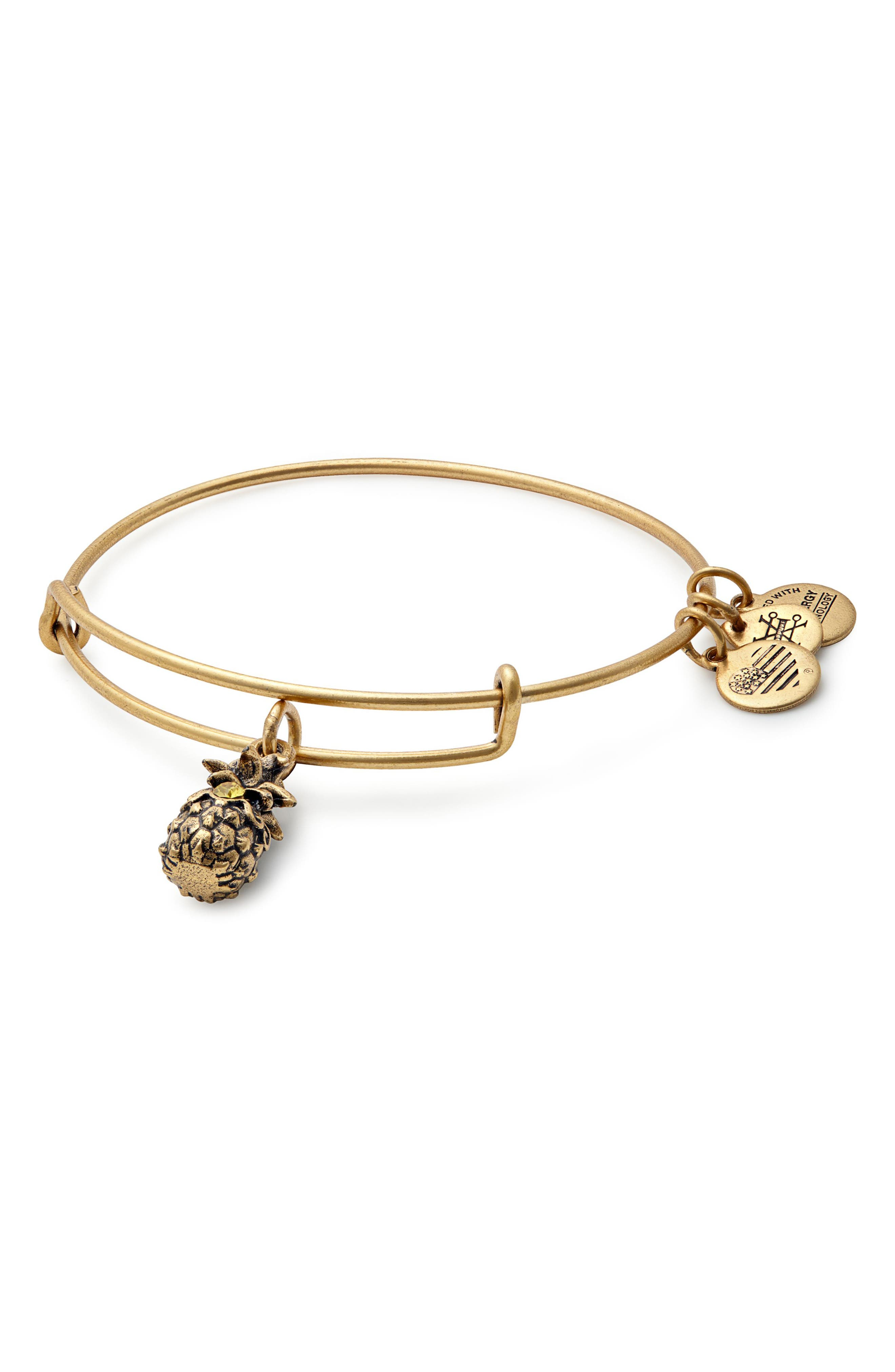 Pineapple Adjustable Wire Bangle,                             Main thumbnail 1, color,                             RUSSIAN GOLD
