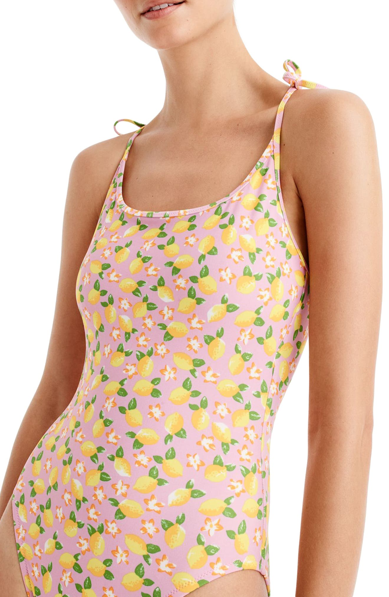 Lemon Print One-Piece Swimsuit,                             Alternate thumbnail 3, color,                             703