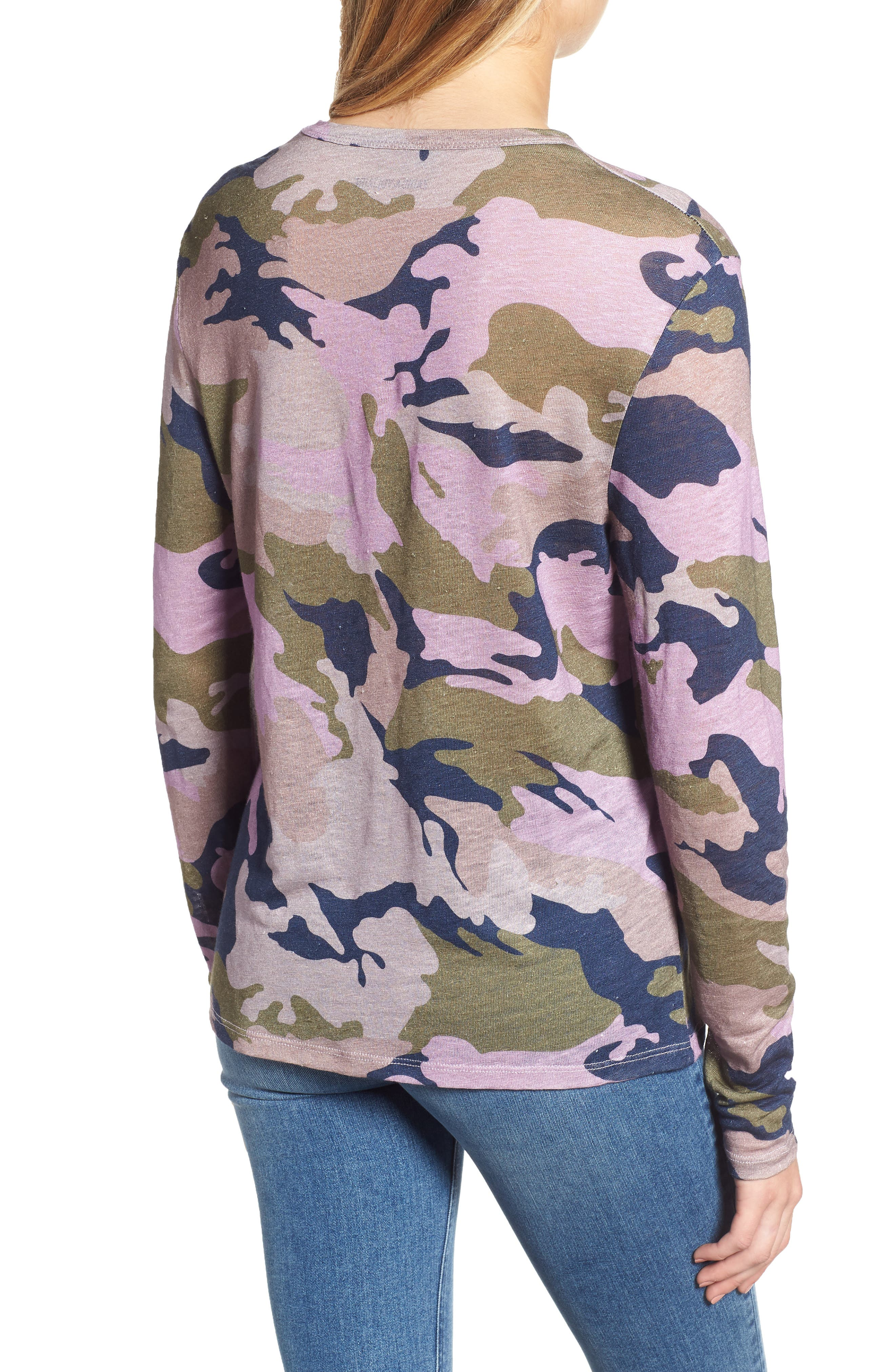 ZADIG & VOLTAIRE,                             Willy Camo Linen Top,                             Alternate thumbnail 2, color,                             300
