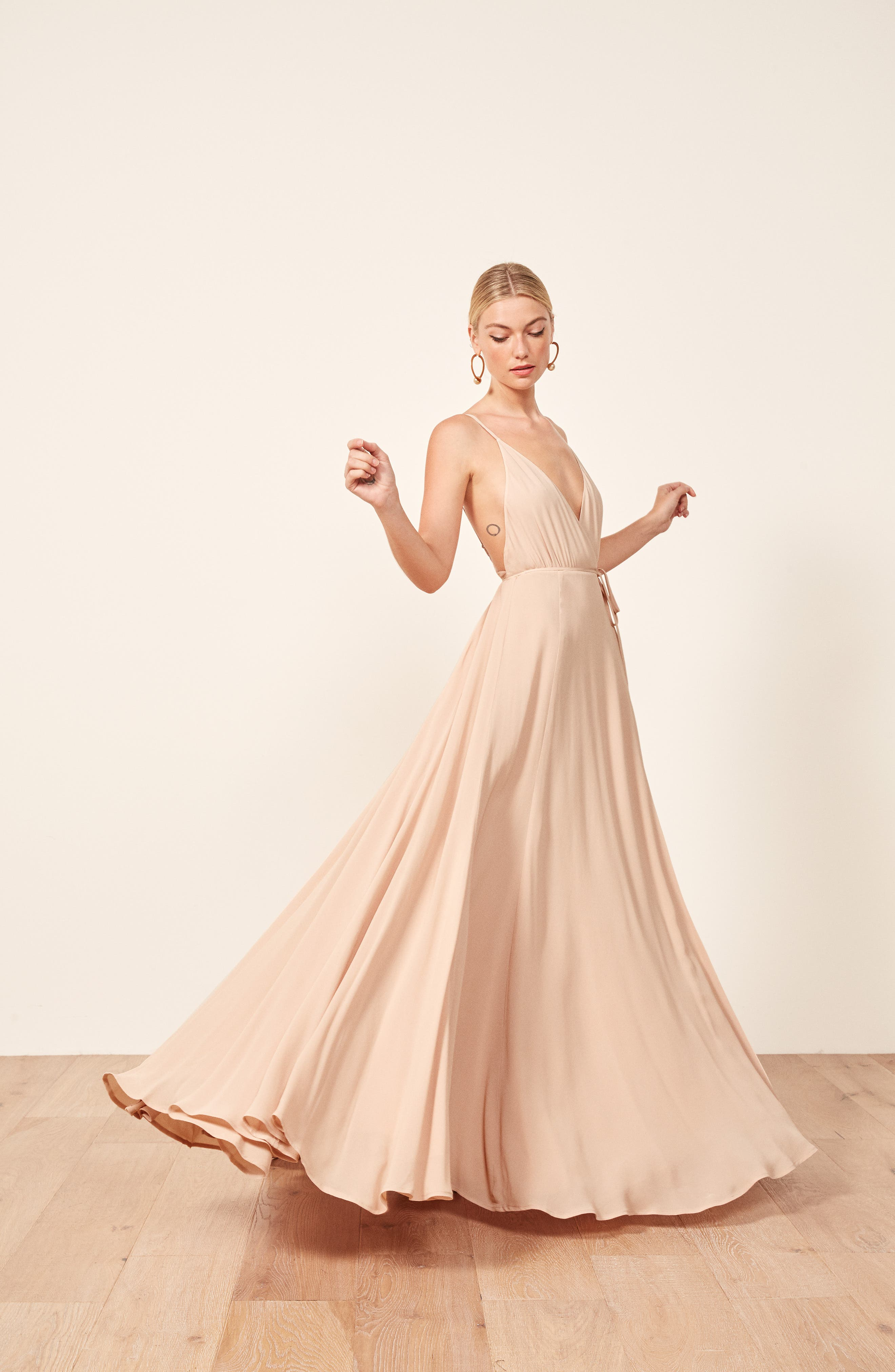 Calalilly Maxi Dress,                             Alternate thumbnail 8, color,                             CHAMPAGNE