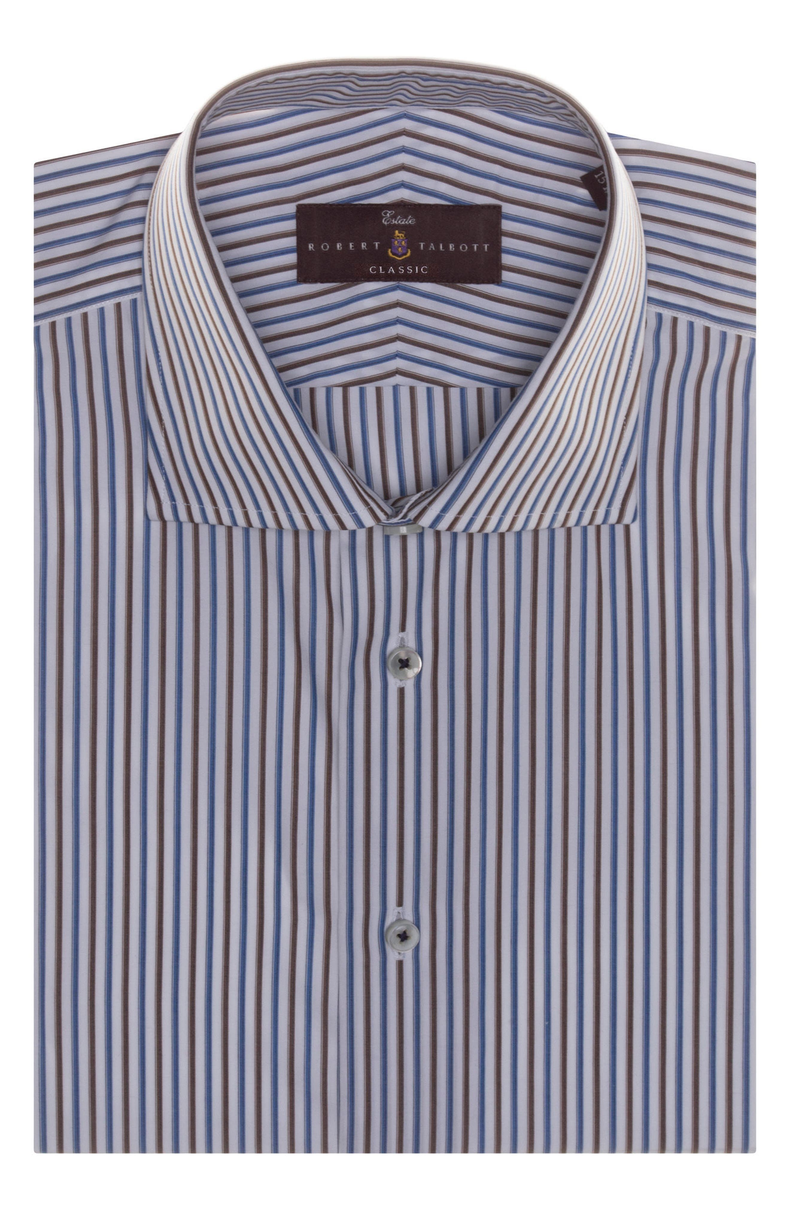 Tailored Fit Stripe Dress Shirt,                             Alternate thumbnail 2, color,                             COCOA