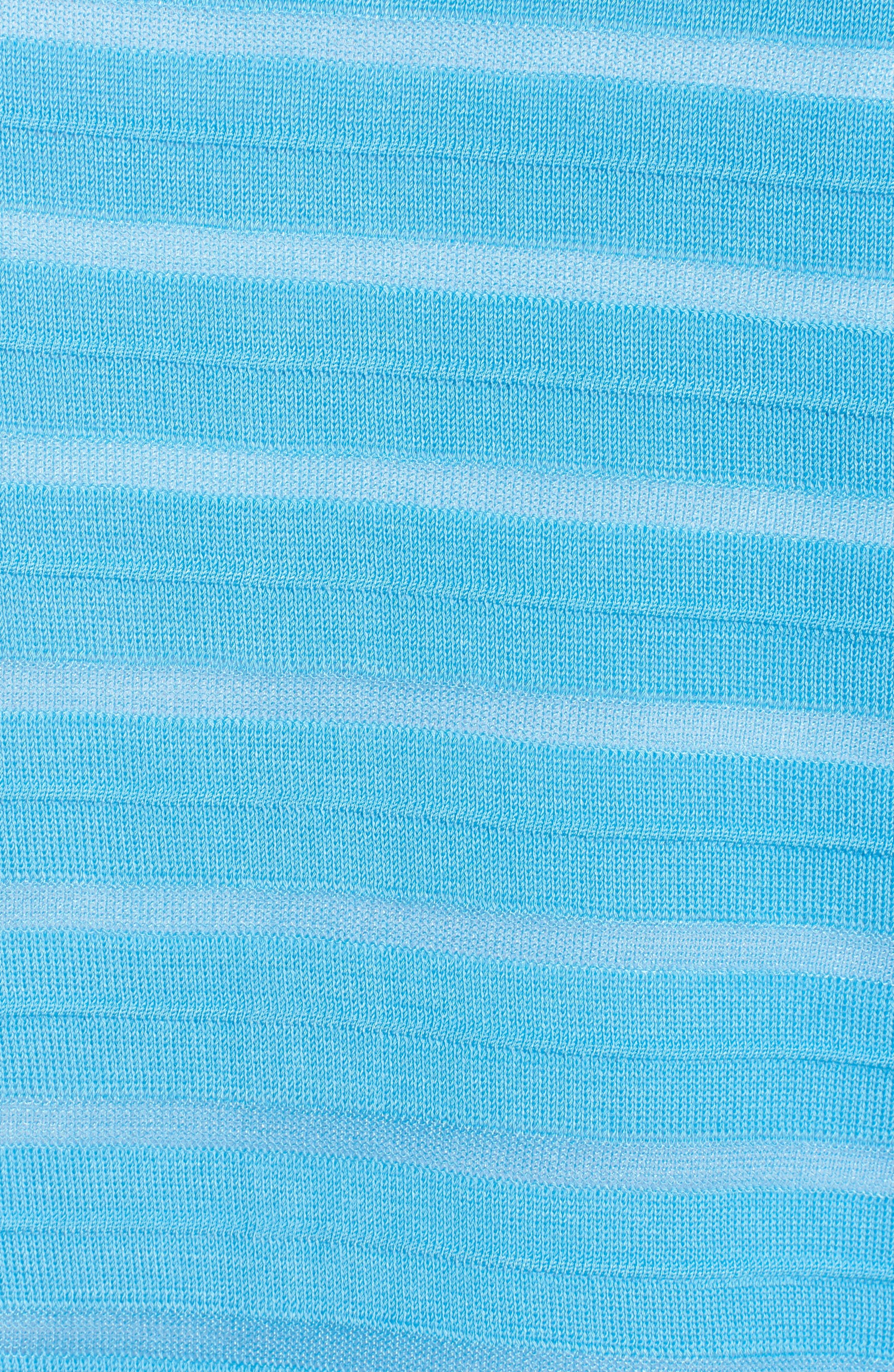 Sheer Stripe Long Jacket,                             Alternate thumbnail 6, color,                             BLUEBONNET/ BLACK