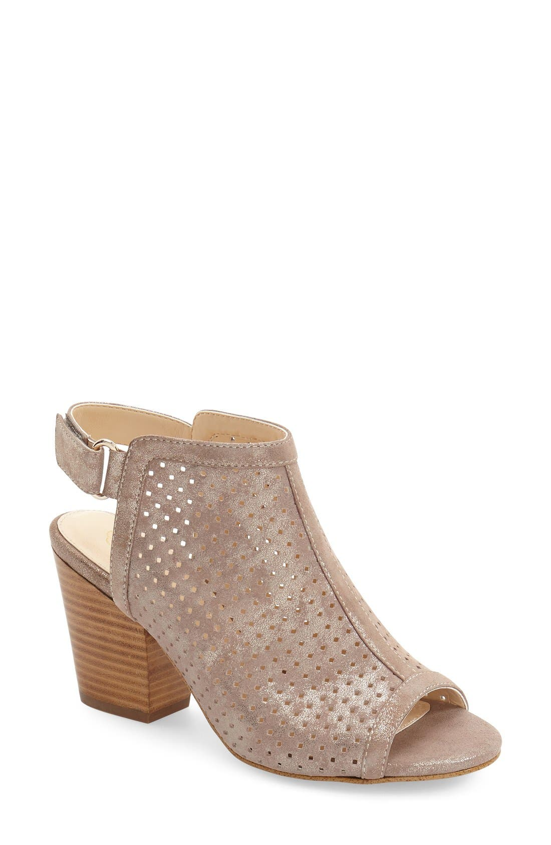 'Lora' Perforated Open-Toe Bootie Sandal,                             Main thumbnail 1, color,                             040