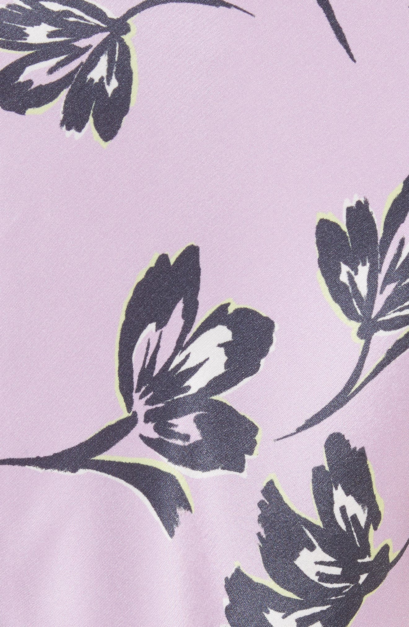 Floral Print Stretch Silk Dress,                             Alternate thumbnail 5, color,                             560