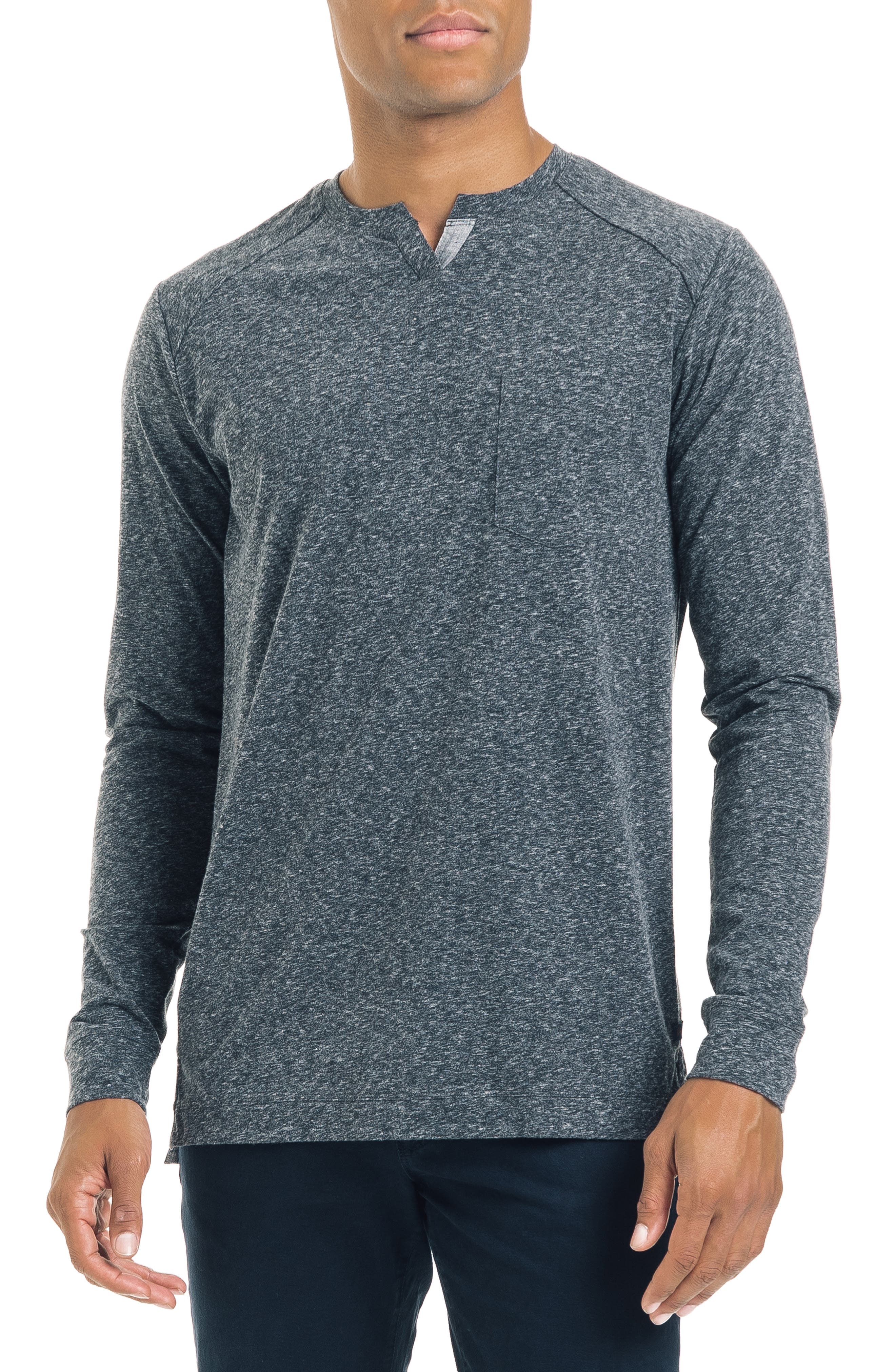 Slim Fit Notched Long Sleeve T-Shirt,                             Main thumbnail 1, color,                             CHARCOAL HEATHER