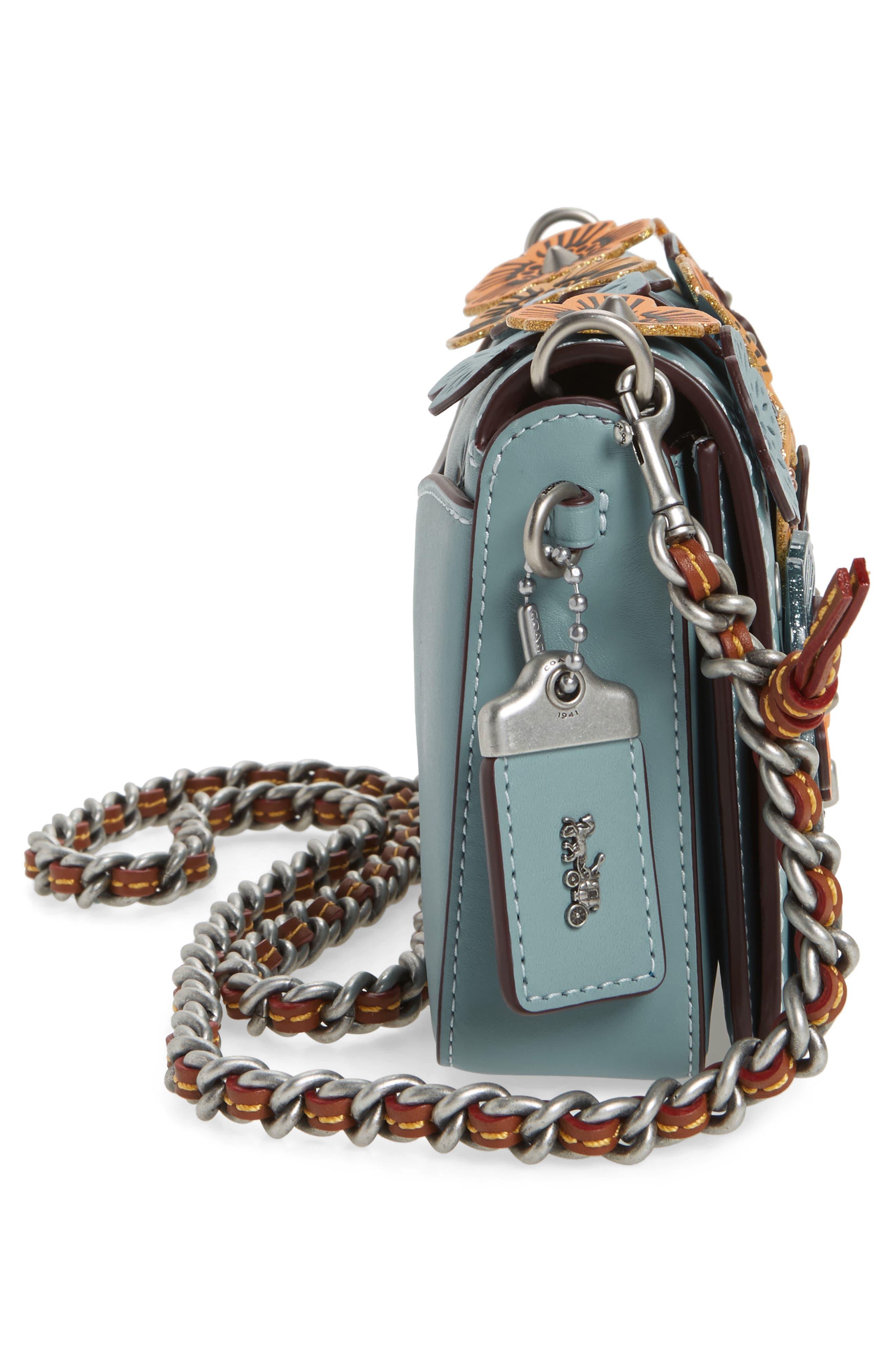 Dinky Tea Rose Appliqué Leather Crossbody Bag,                             Alternate thumbnail 5, color,                             462
