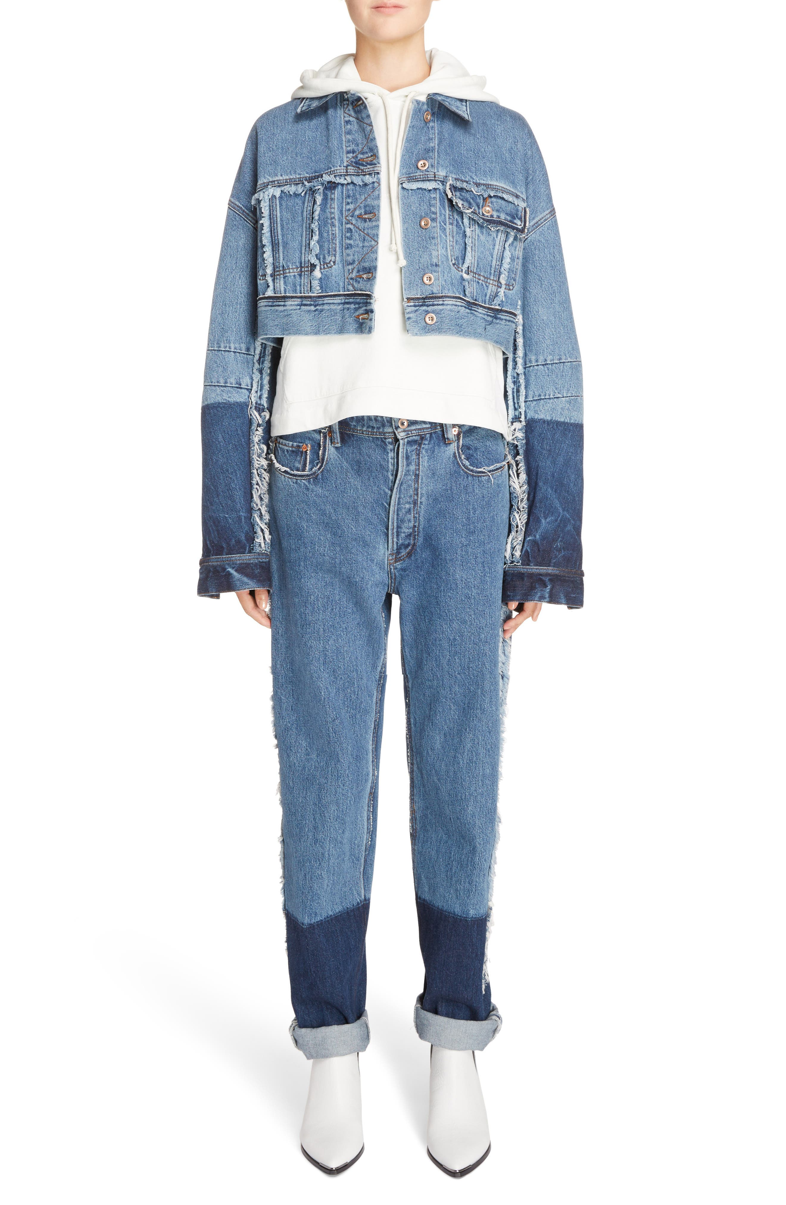 Mirja Frayed High Waist Straight Leg Jeans,                             Alternate thumbnail 6, color,