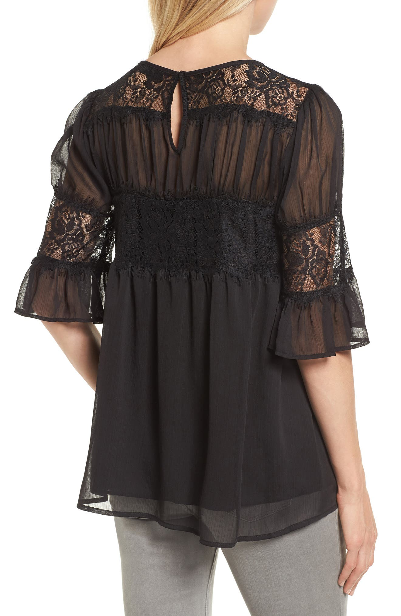 Lace Panel Pleated Blouse,                             Alternate thumbnail 5, color,