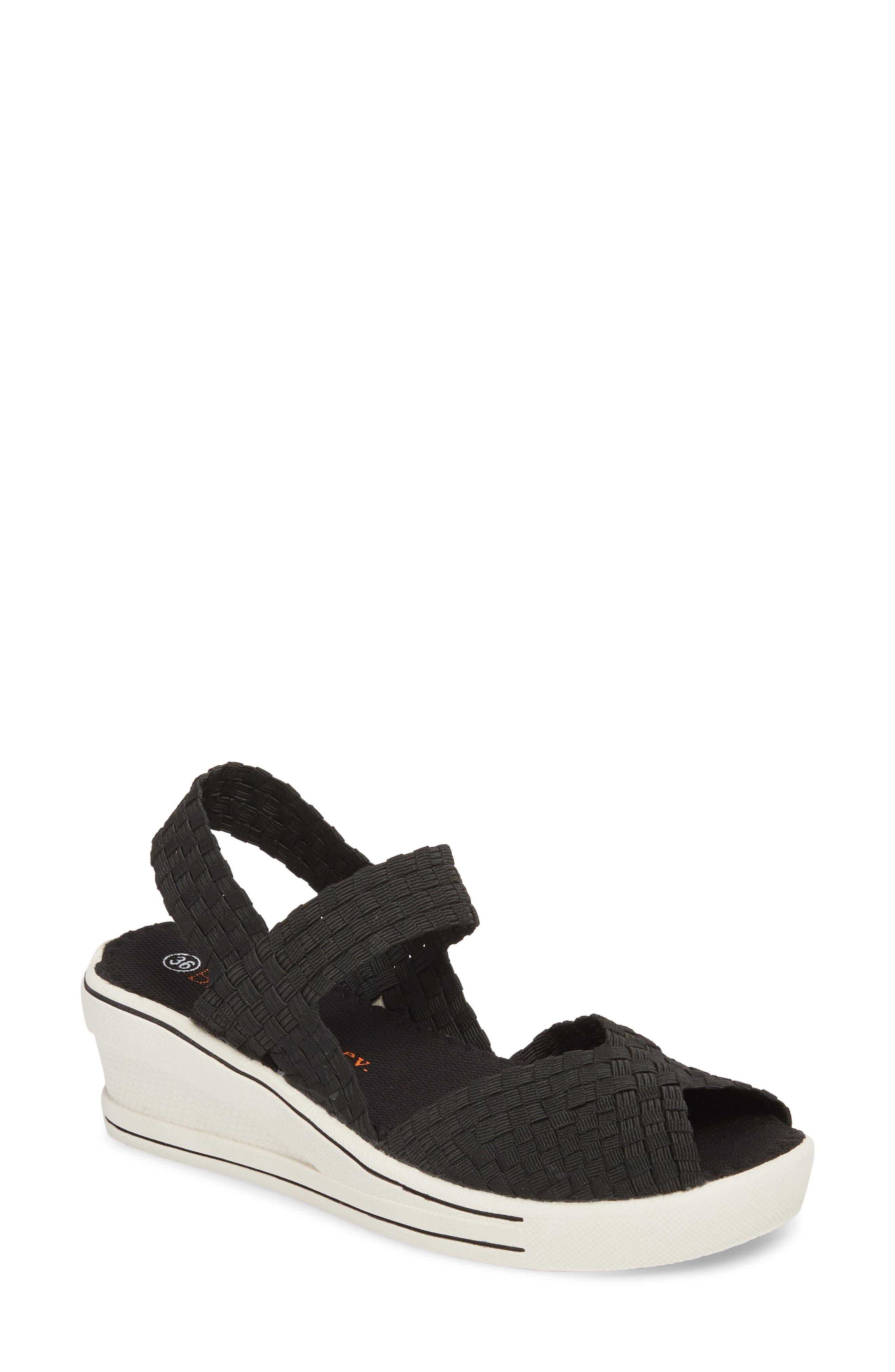 Lux Garden Sandal,                         Main,                         color, BLACK FABRIC