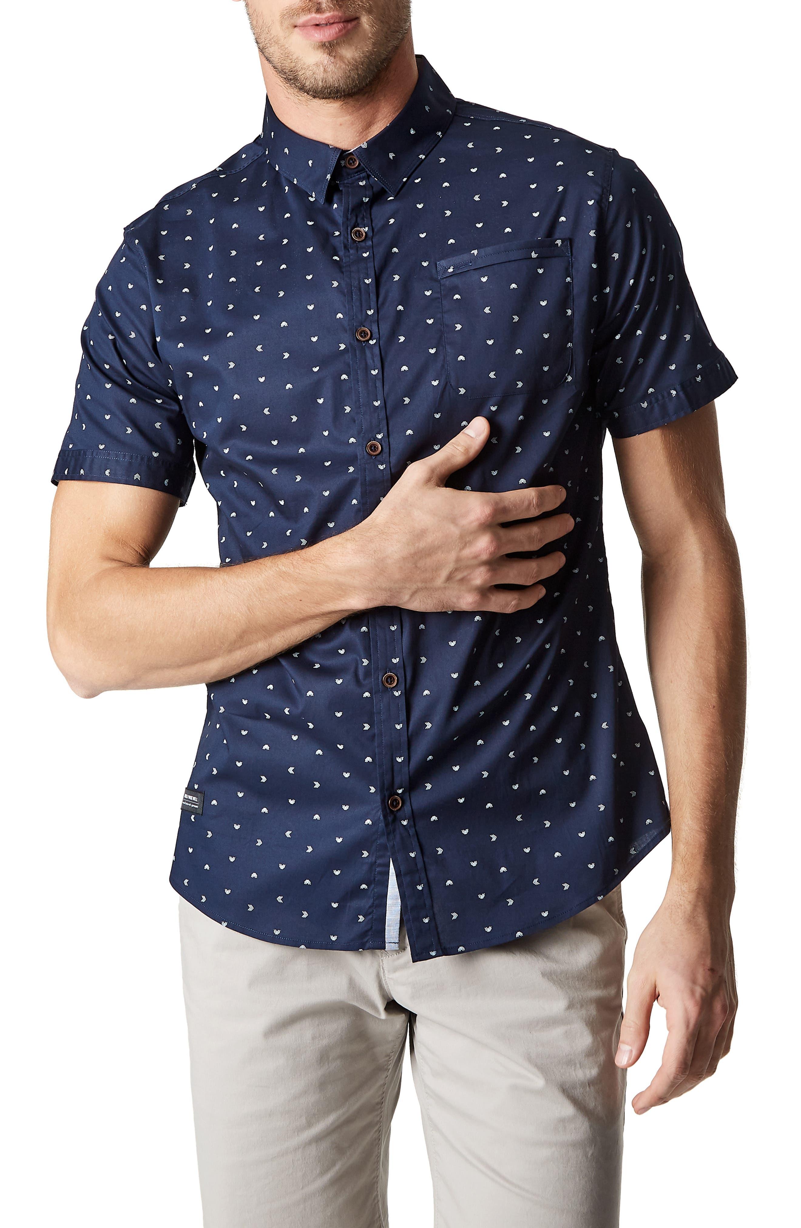 7 DIAMONDS Rhythm Nation Trim Fit Stretch Short Sleeve Sport Shirt, Main, color, NAVY