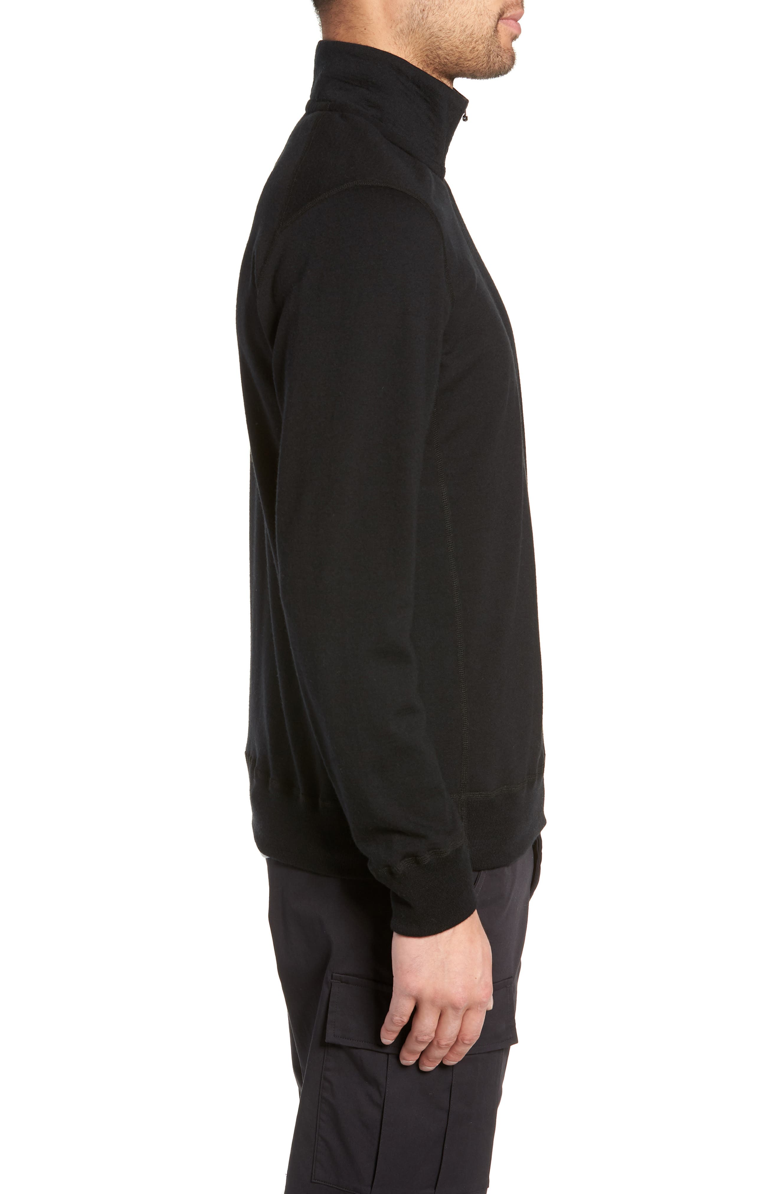 Swedish Merino Wool Trail Shirt,                             Alternate thumbnail 3, color,                             BLACK